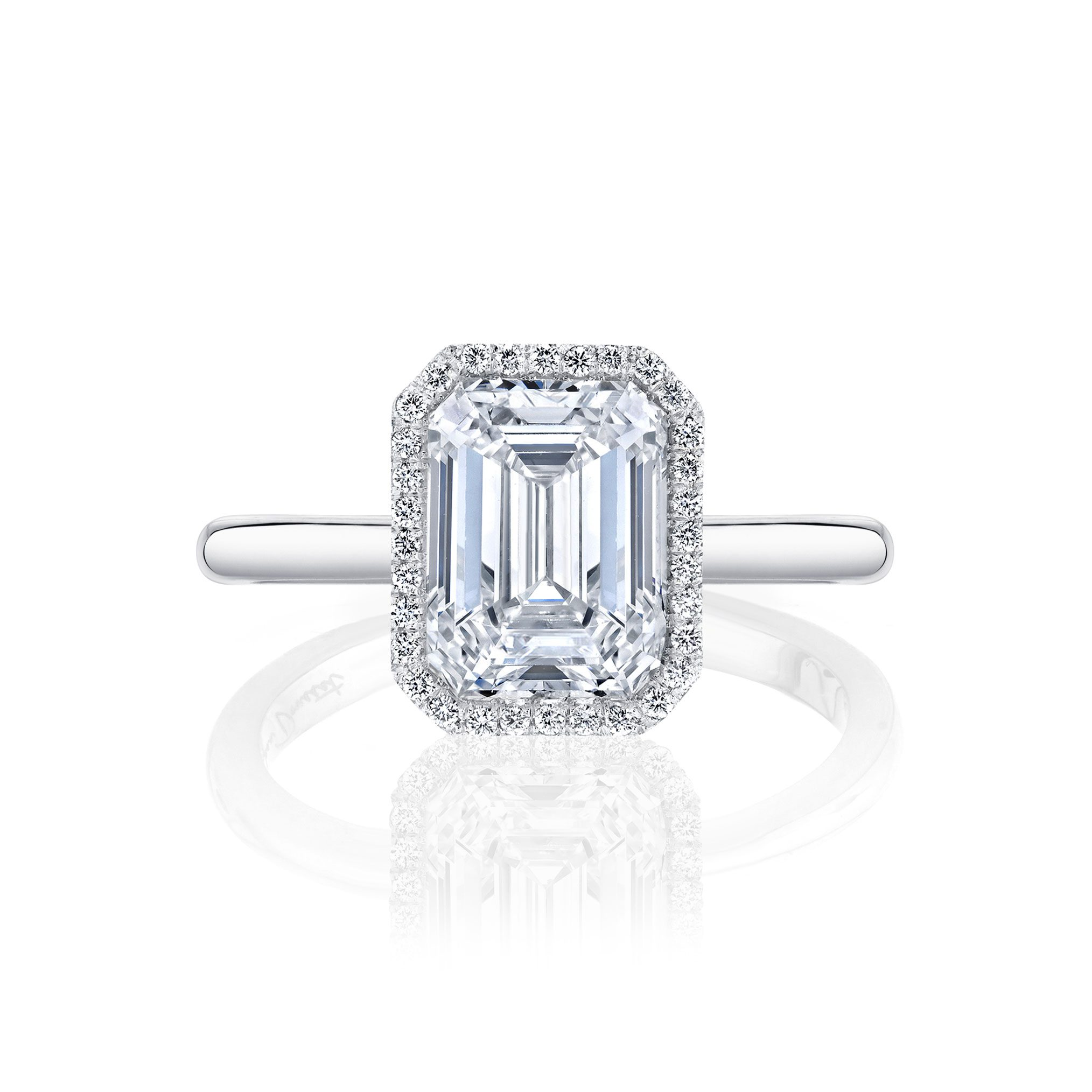 Colette Seamless Halo® Engagement Ring Emerald Cut Ring with white gold band