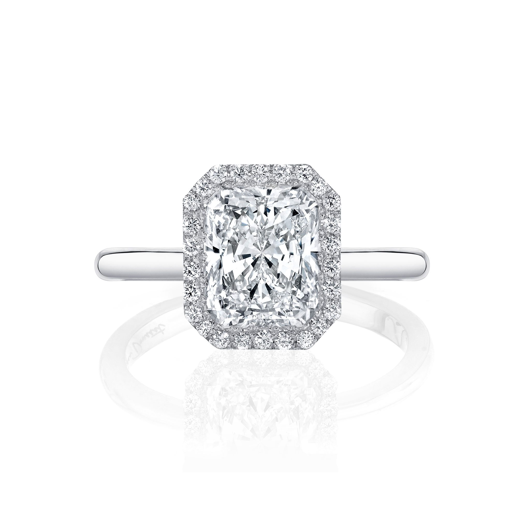 Colette Seamless Halo® Engagement Ring Radiant Cut Ring with 18k white gold band