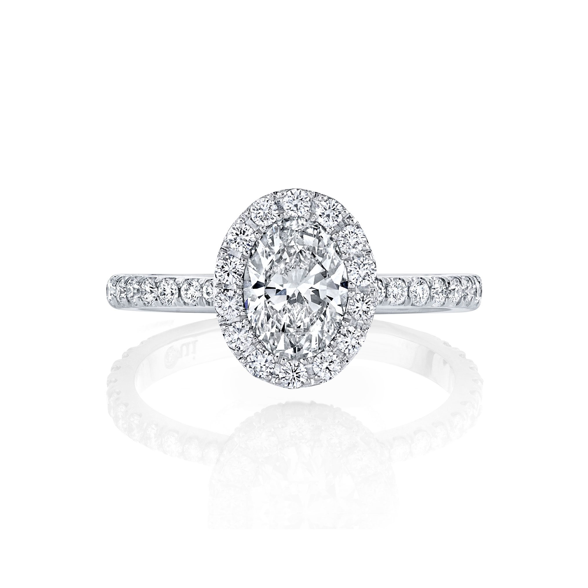 Eloise Oval Seamless Halo® Engagement Ring with diamond pavé in 18k White Gold Front View by Oui by Jean Dousset
