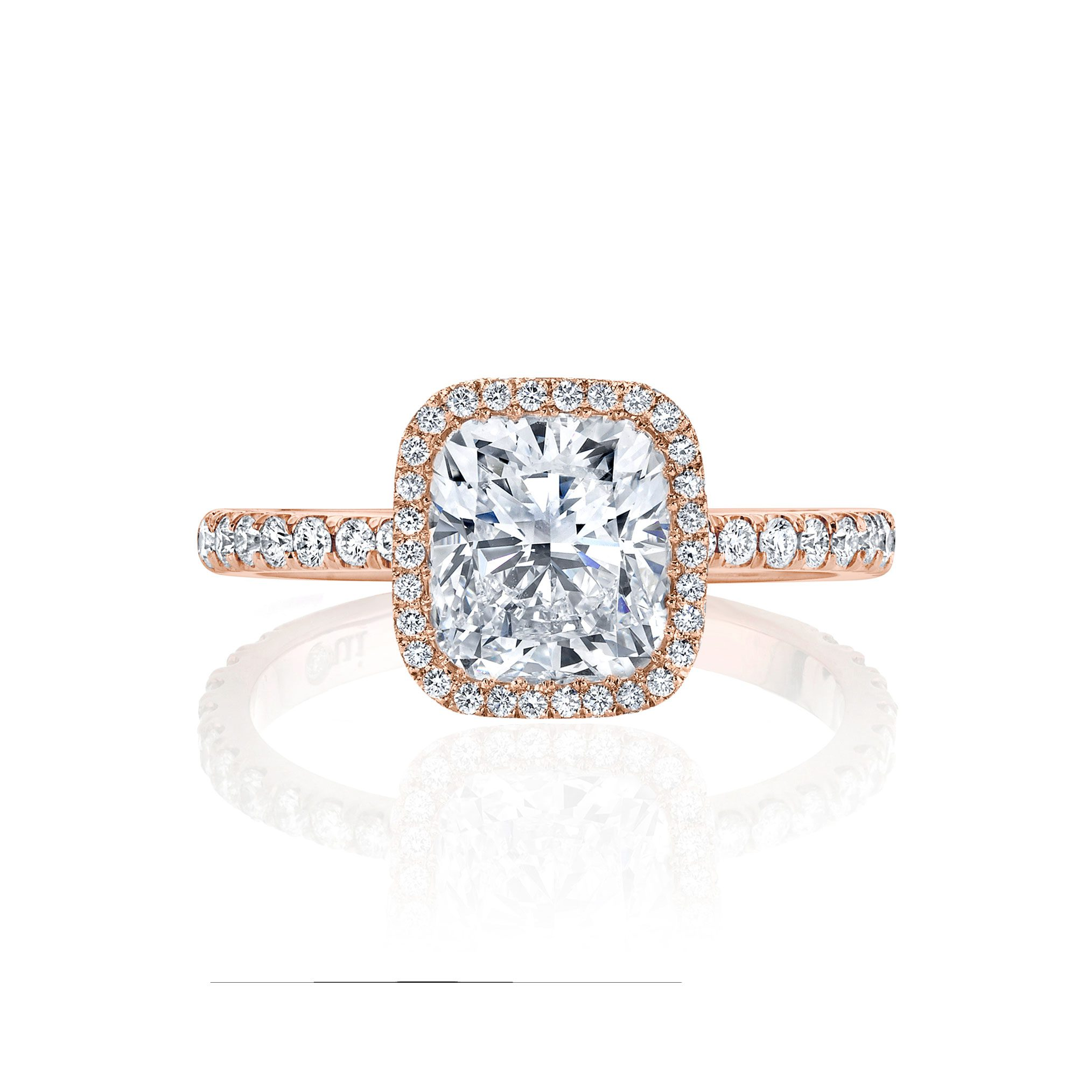 Eloise Seamless Halo® Engagement Ring Cushion Cut Ring with 18k rose gold pavé band