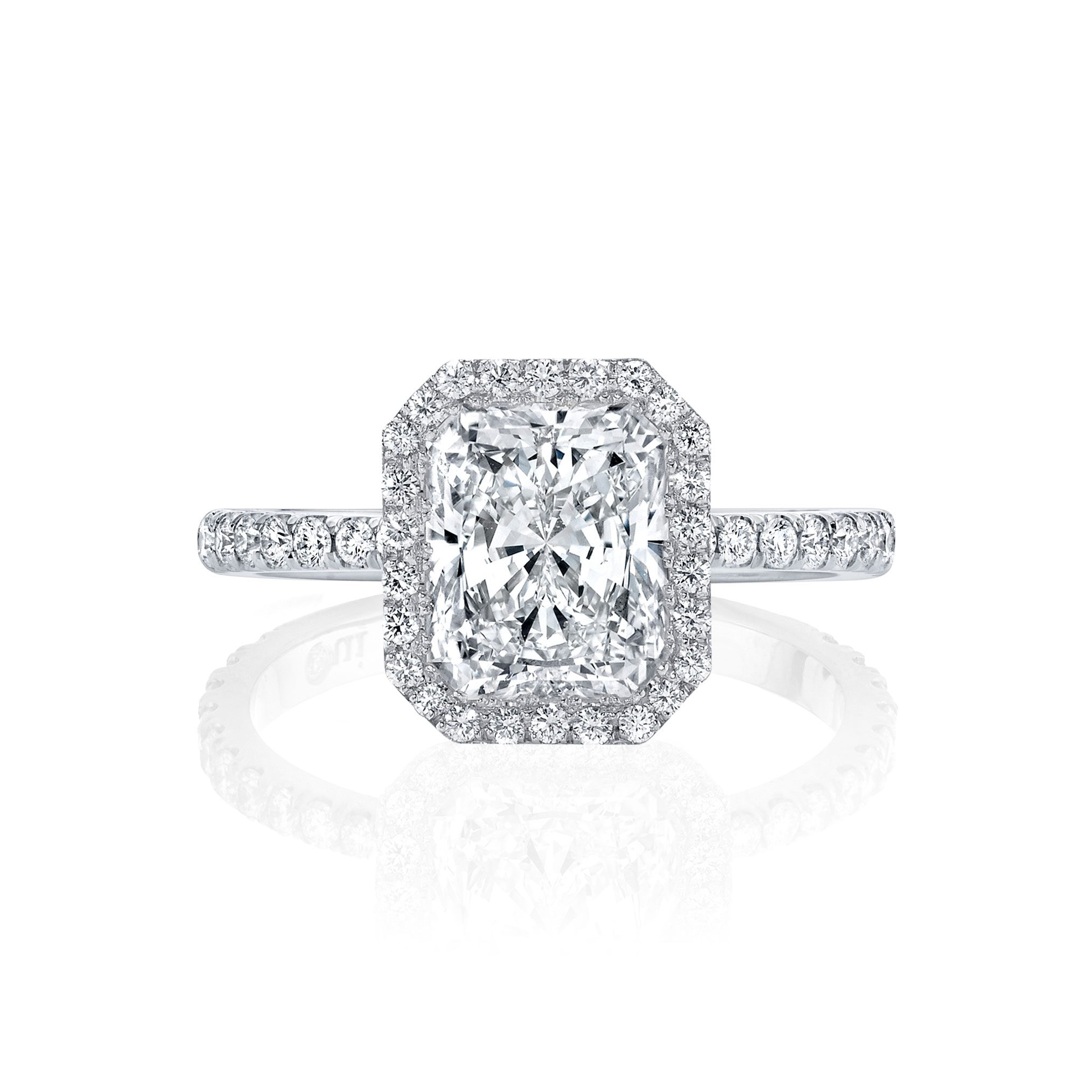 Eloise Seamless Halo® Engagement Ring Radiant Cut Ring with 18k white gold pavé band