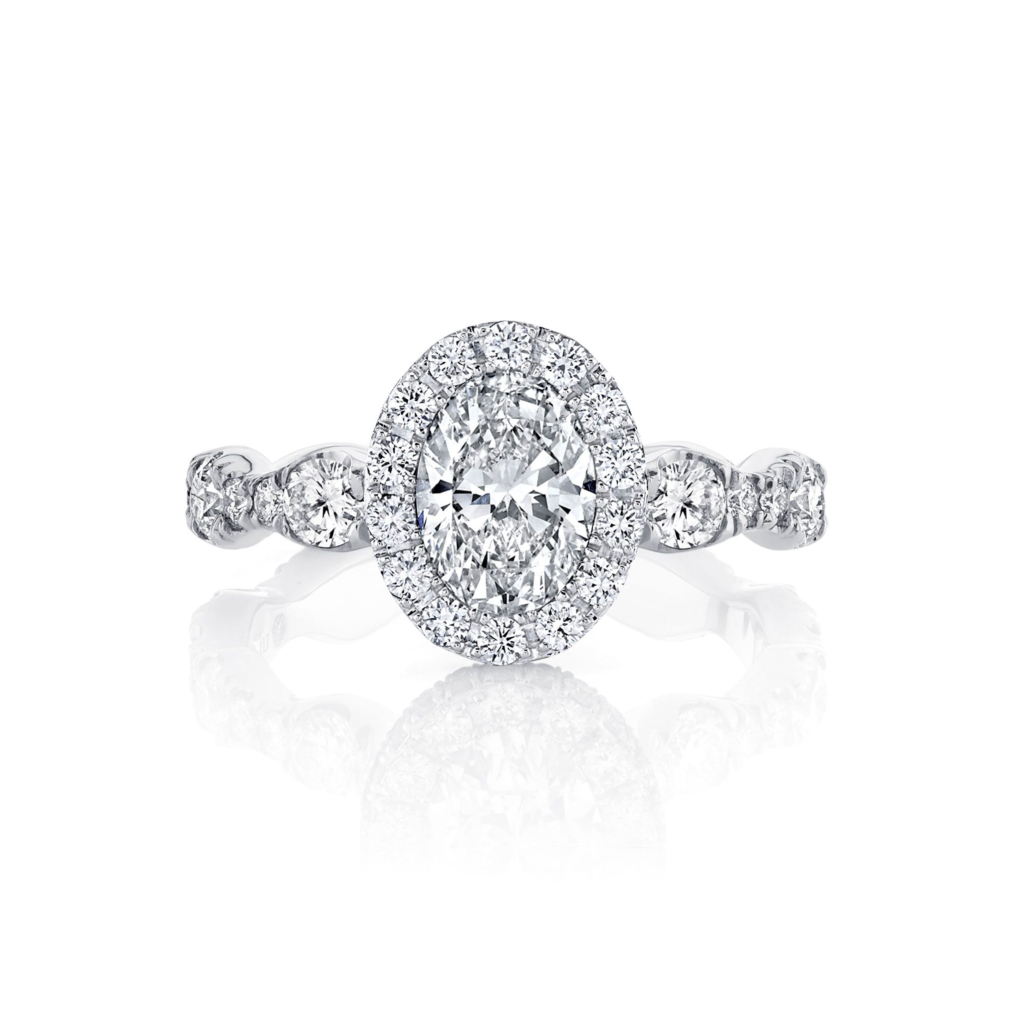 Yvonne Oval Seamless Halo® Engagement Ring with a diamond pavé wave in 18k White Gold Front View by Oui by Jean Dousset