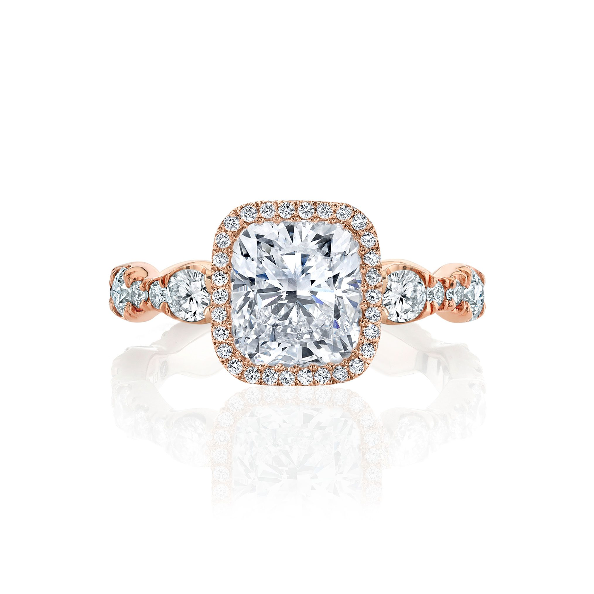 Yvonne Seamless Halo® Engagement Ring with Lab Grown Cushion Cut Diamond in 18k rose gold
