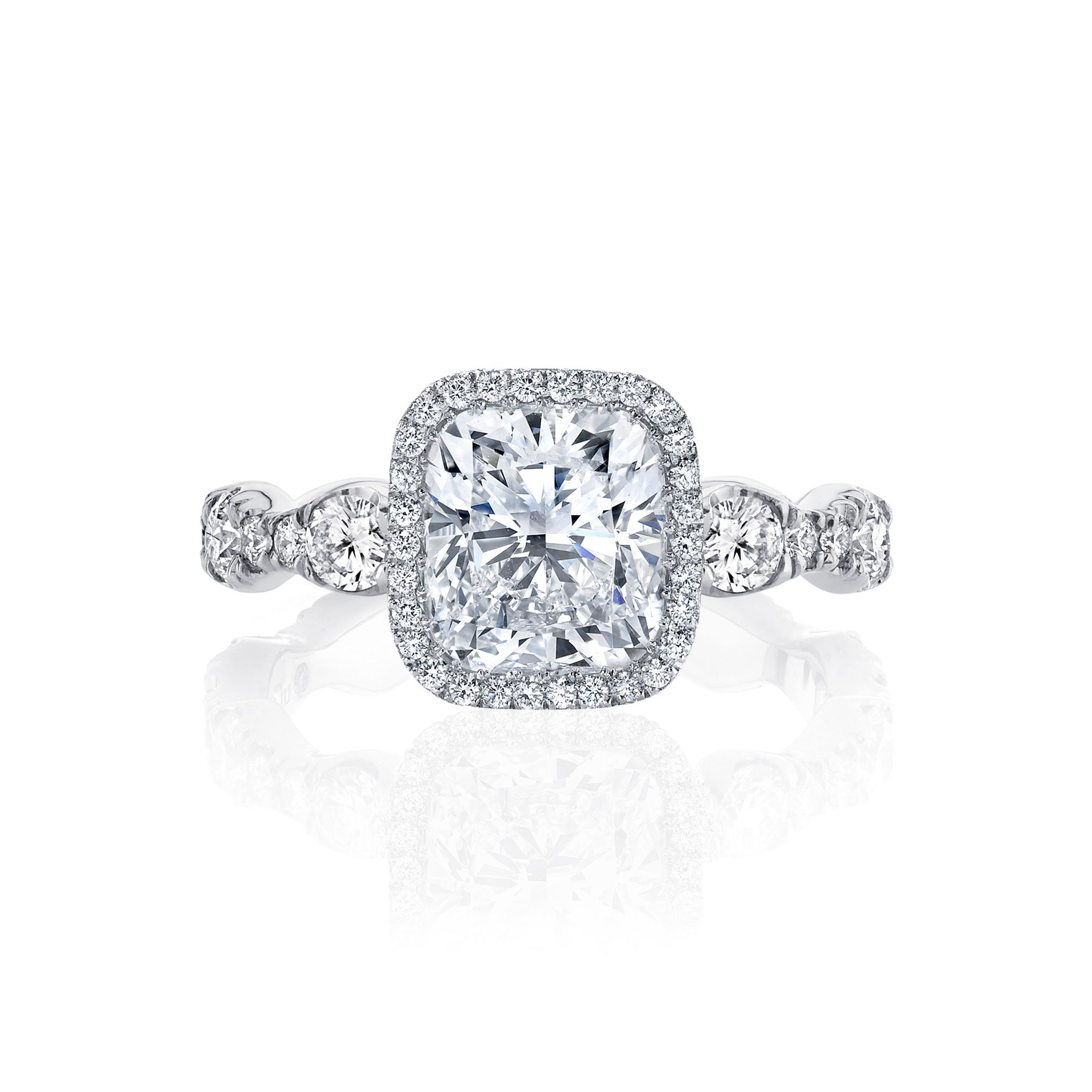 Yvonne Seamless Halo® Engagement Ring with Lab Grown Cushion Cut Diamond in 18k white gold