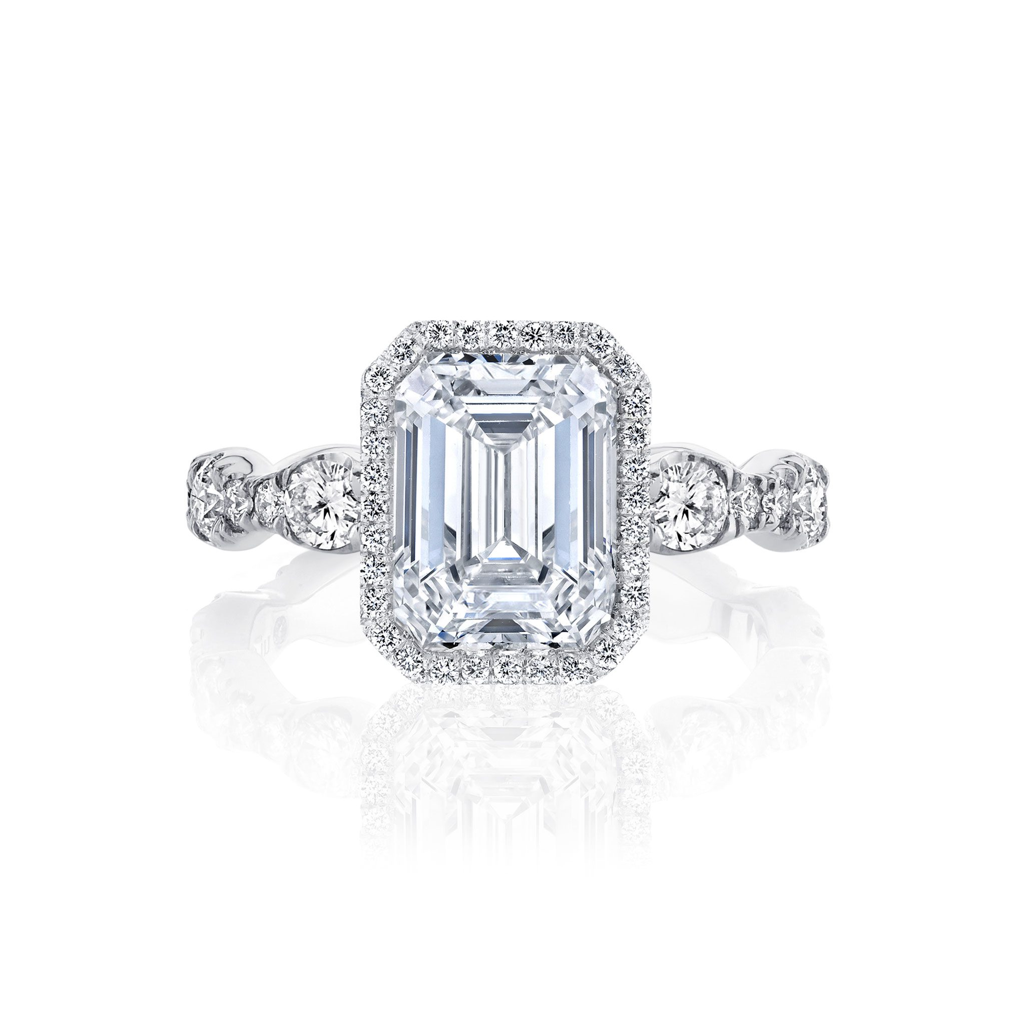 Yvonne Seamless Halo® Engagement Ring with Lab Grown Emerald Cut Diamond in 18k white gold