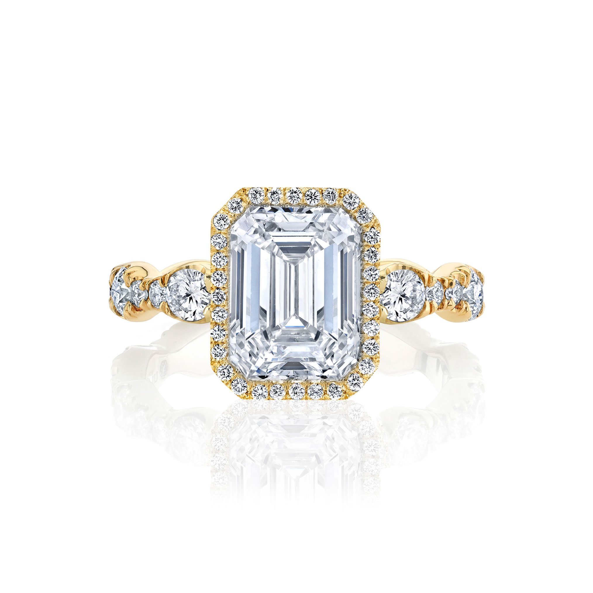 Yvonne Seamless Halo® Engagement Ring with Lab Grown Emerald Cut Diamond in 18k yellow gold