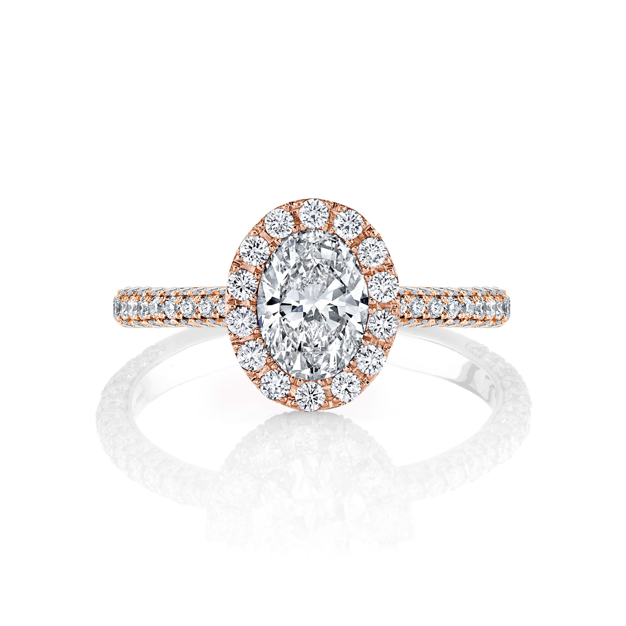 Jacqueline Oval Seamless Halo® Engagement Ring with diamond pavé in 18k Rose Gold Front View by Oui by Jean Dousset