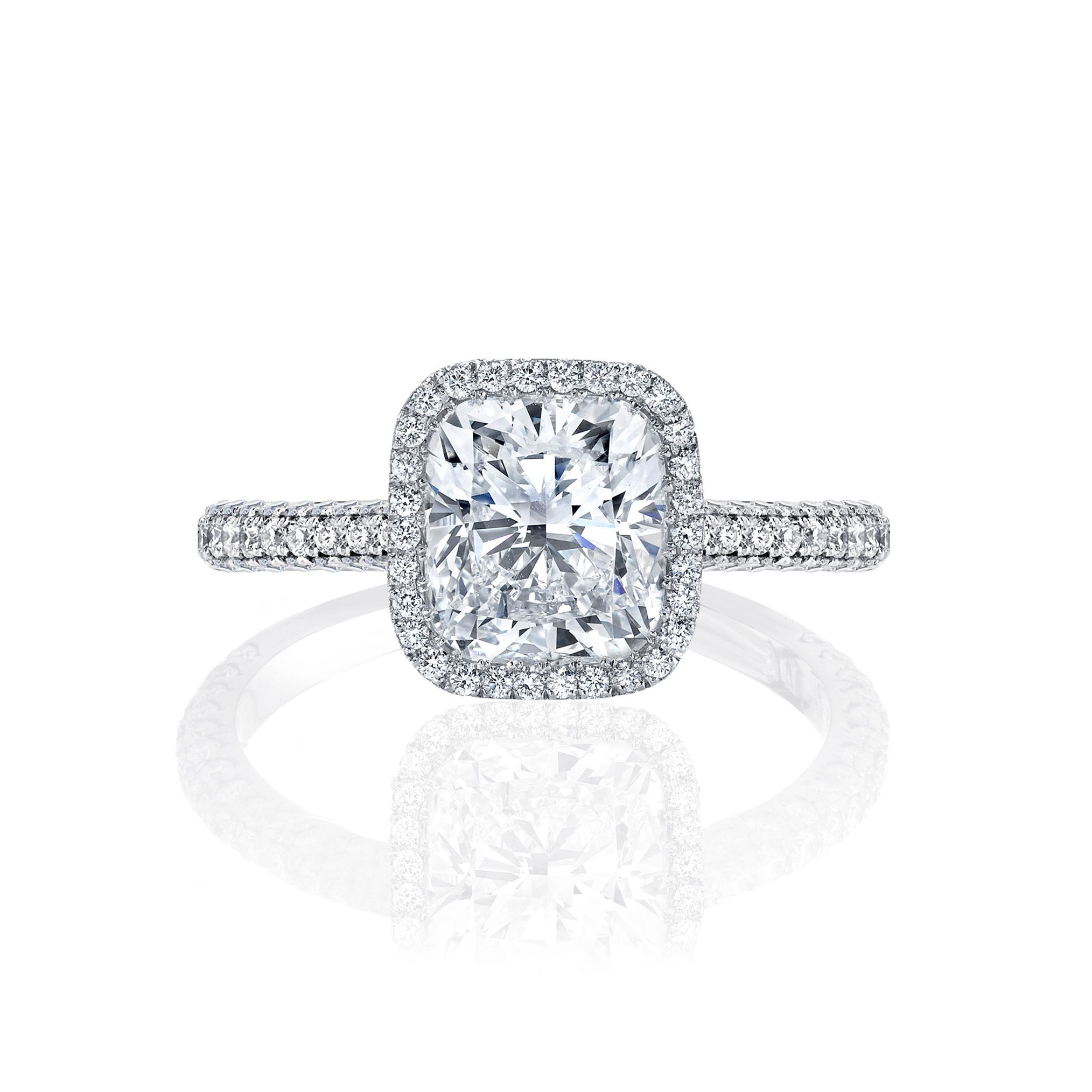 Jacqueline Seamless Halo® Engagement Ring with Lab Grown Cushion Cut Diamond in white gold