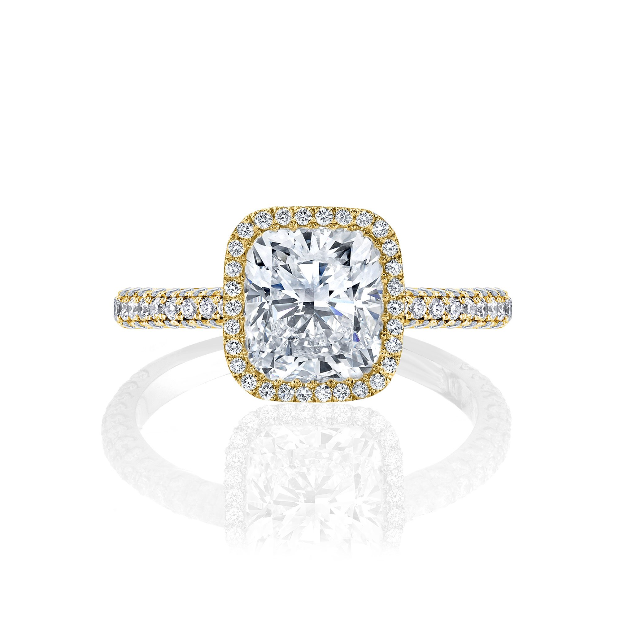 Jacqueline Seamless Halo® Engagement Ring with Lab Grown Cushion Cut Diamond in 18k yellow gold