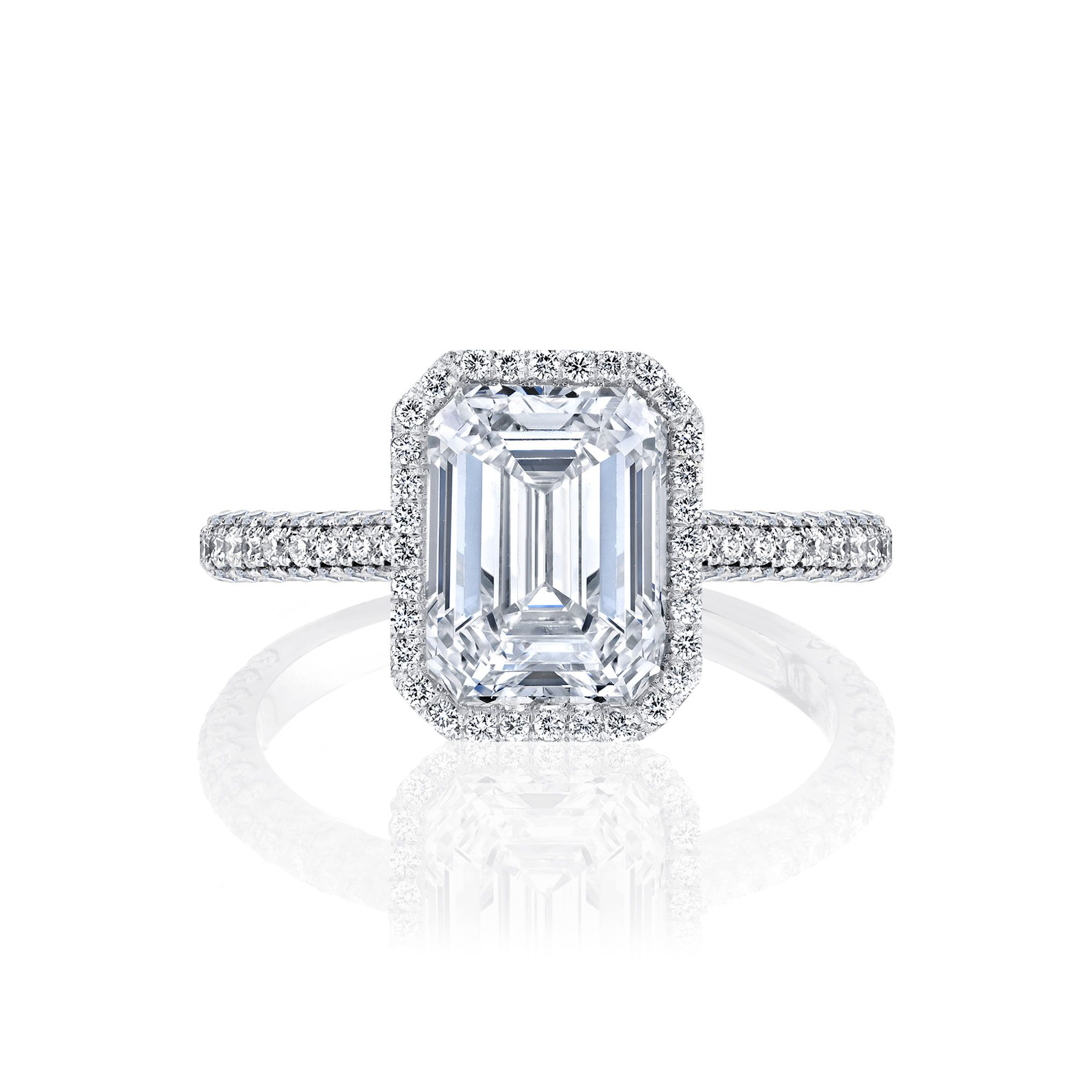 Jacqueline Seamless Halo® Engagement Ring with Lab Grown Emerald Cut Diamond in 18k white gold