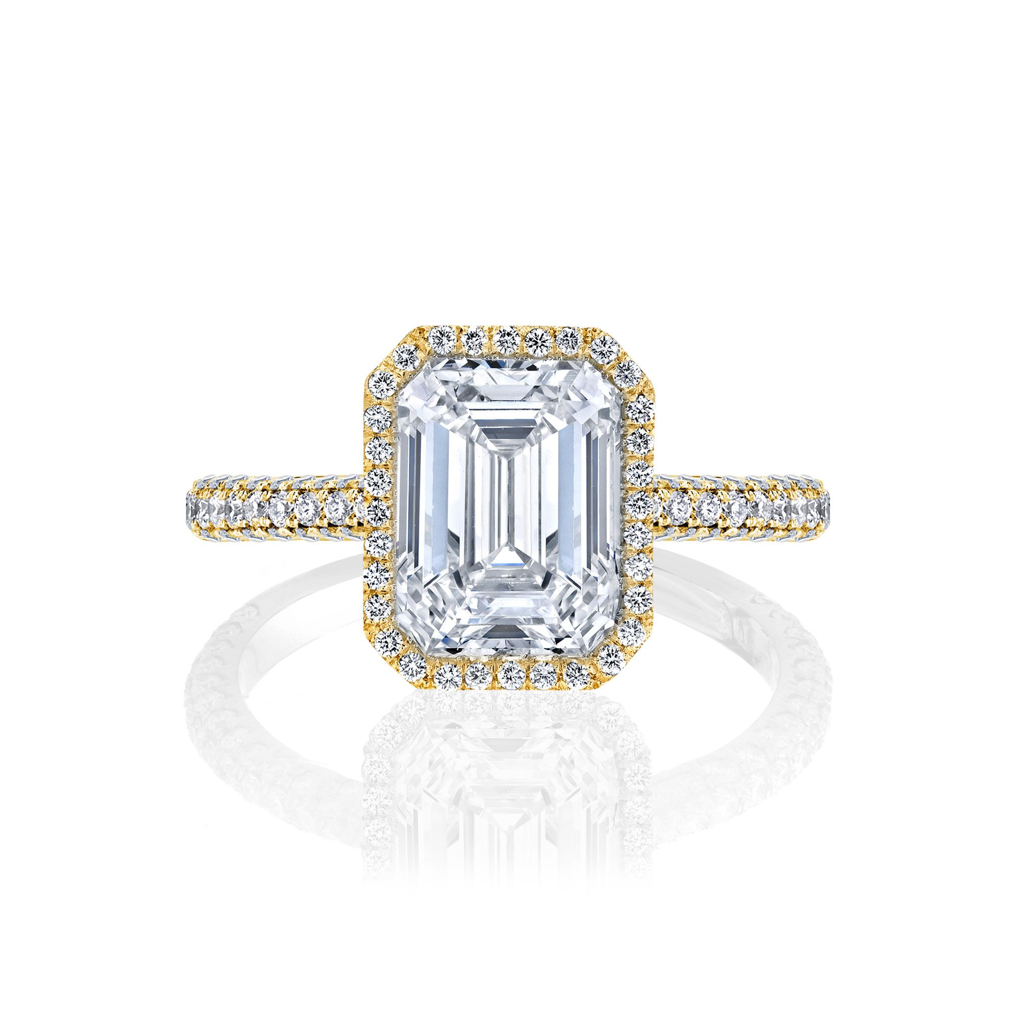 Jacqueline Seamless Halo® Engagement Ring with Lab Grown Emerald Cut Diamond in 18k yellow gold