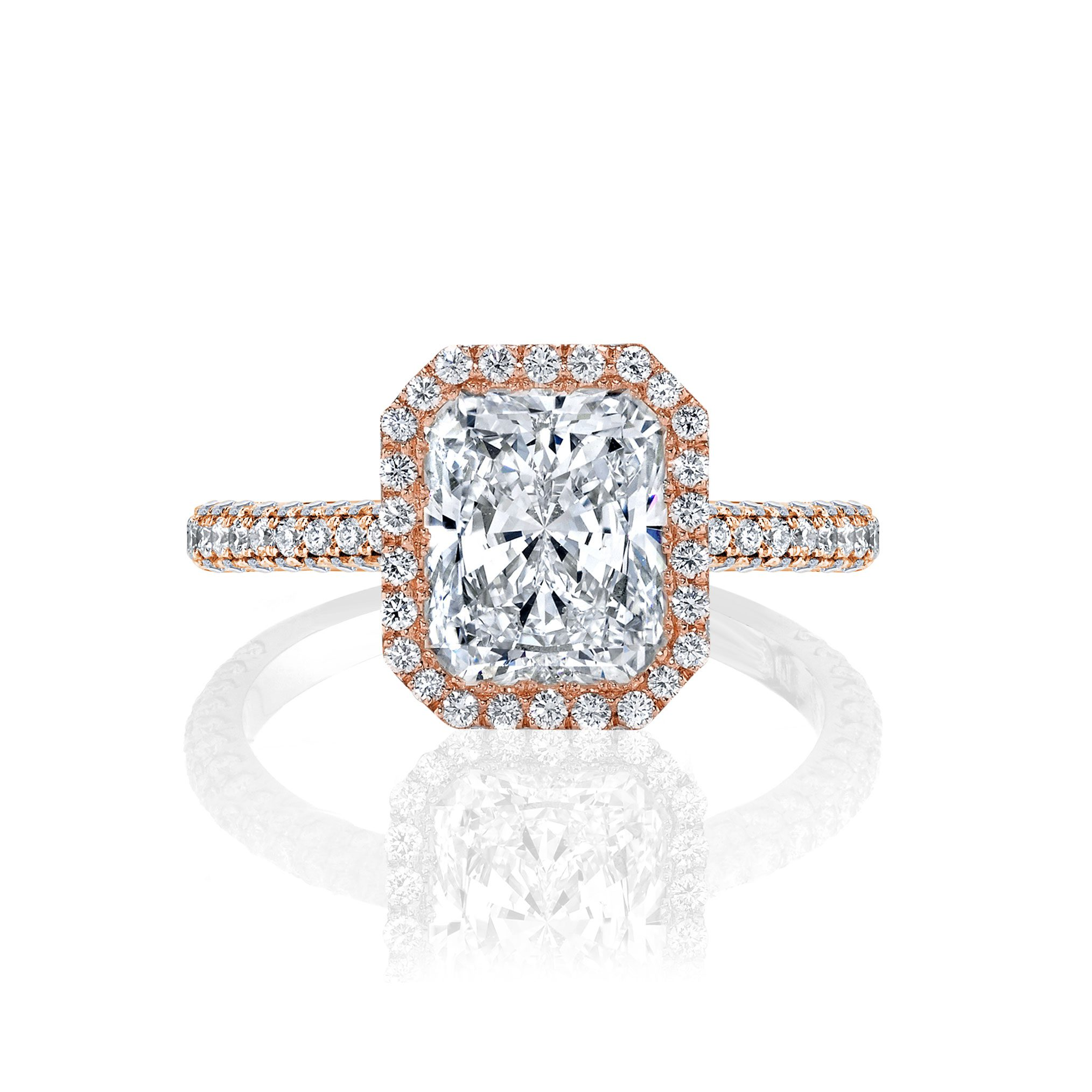 Jacqueline Seamless Halo® Engagement Ring with Lab Grown Radiant Cut Diamond in 18k rose gold