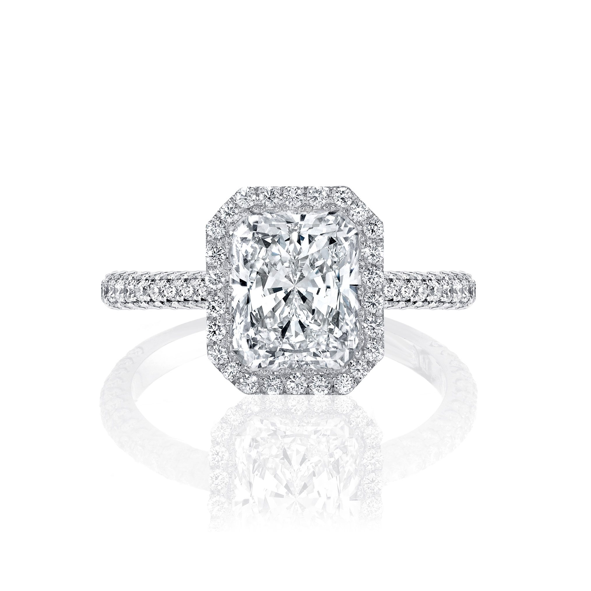 Jacqueline Seamless Halo® Engagement Ring with Lab Grown Radiant Cut Diamond in 18k white gold