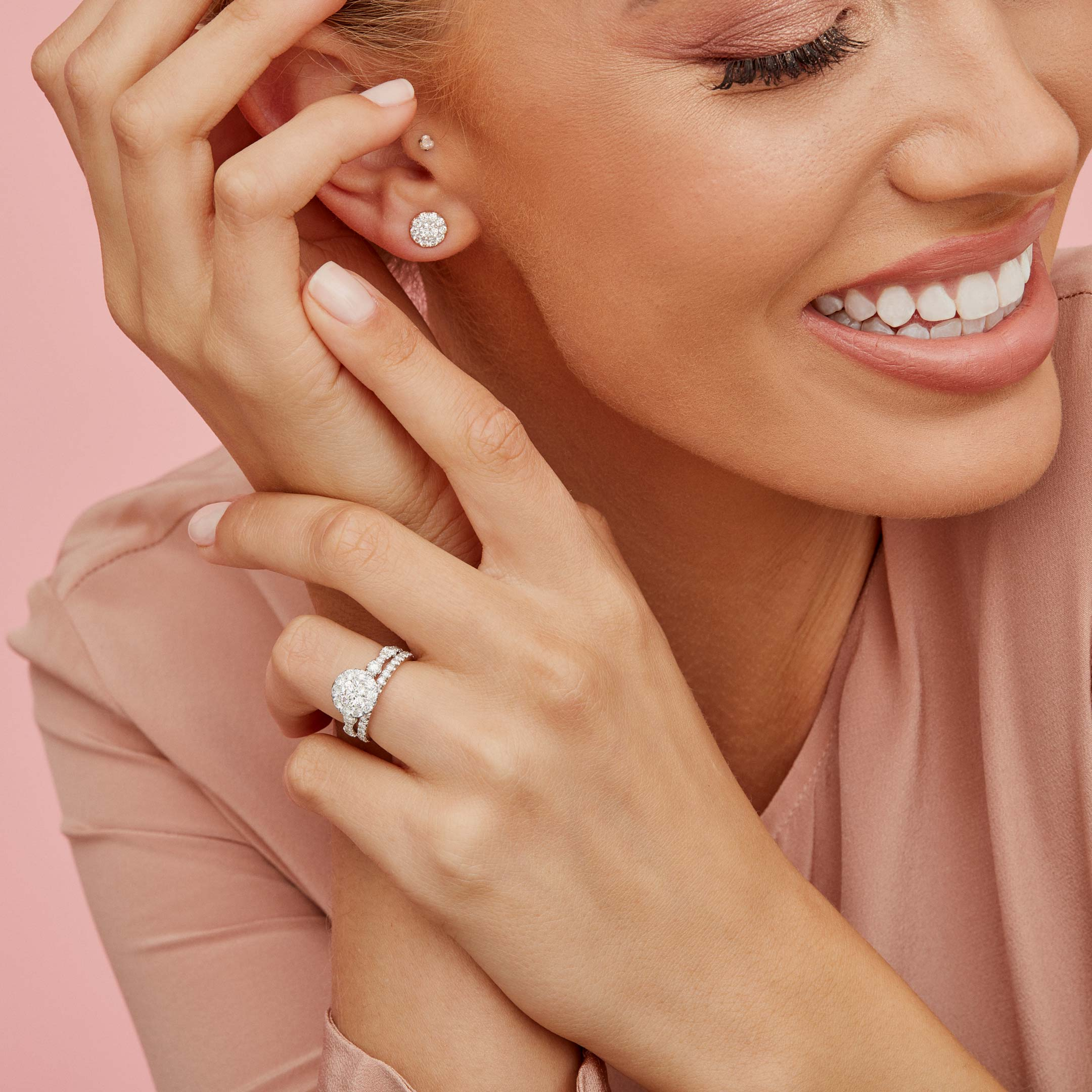 Celine Round Brilliant Seamless Solitaire™ Diamond Stud Earrings in 18k Rose Gold Model Lifestyle by Oui by Jean Dousset