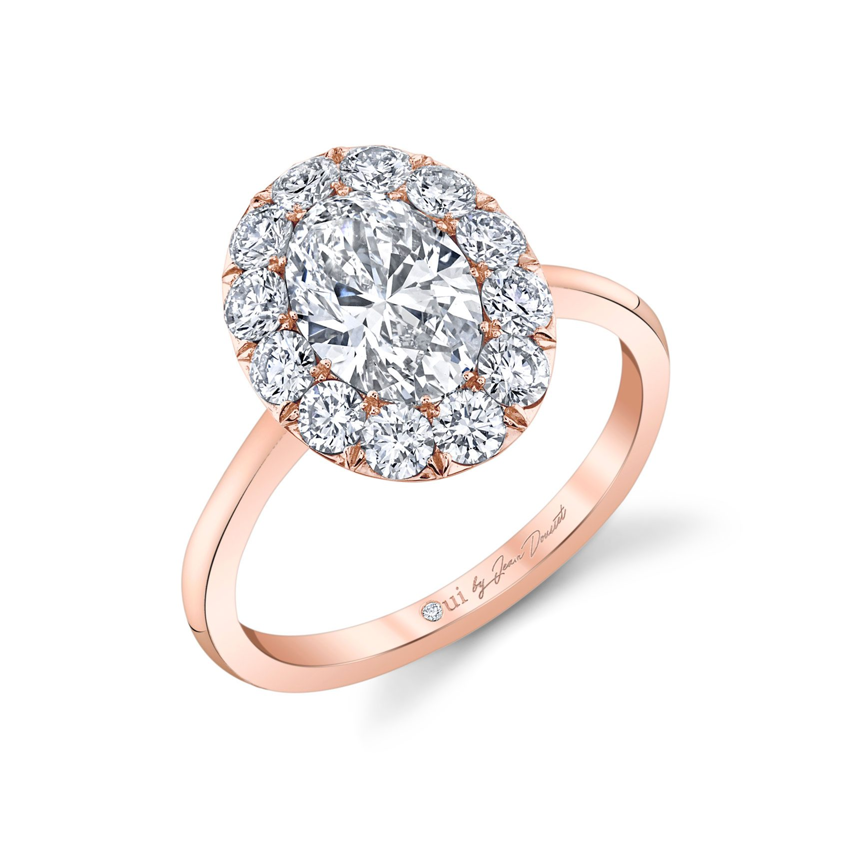 Colette Oval Seamless Solitaire® Engagement Ring with a solid band in 18k Rose Gold Profile View by Oui by Jean Dousset