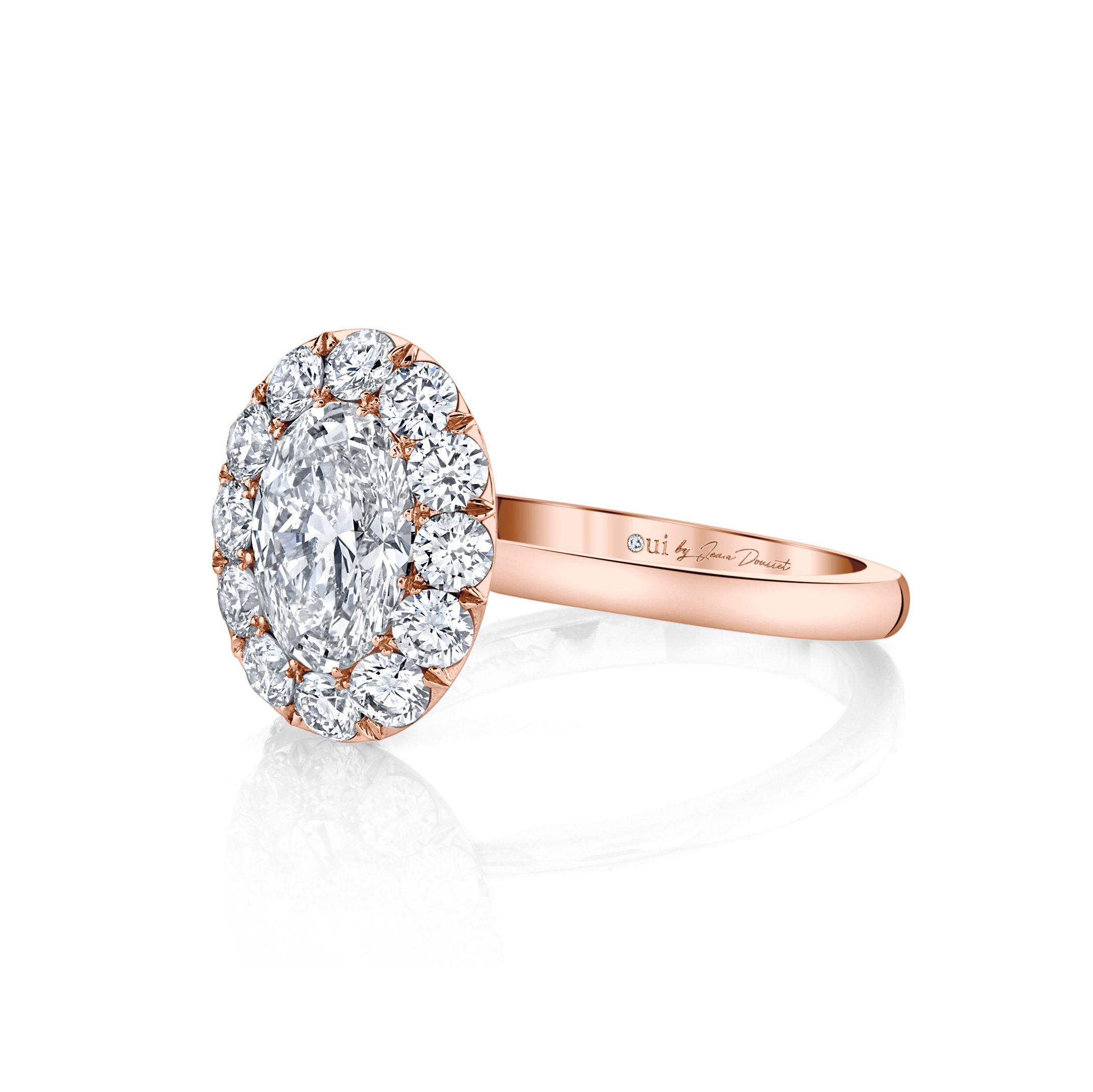 Colette Oval Seamless Solitaire® Engagement Ring with a solid band in 18k Rose Gold Side View by Oui by Jean Dousset