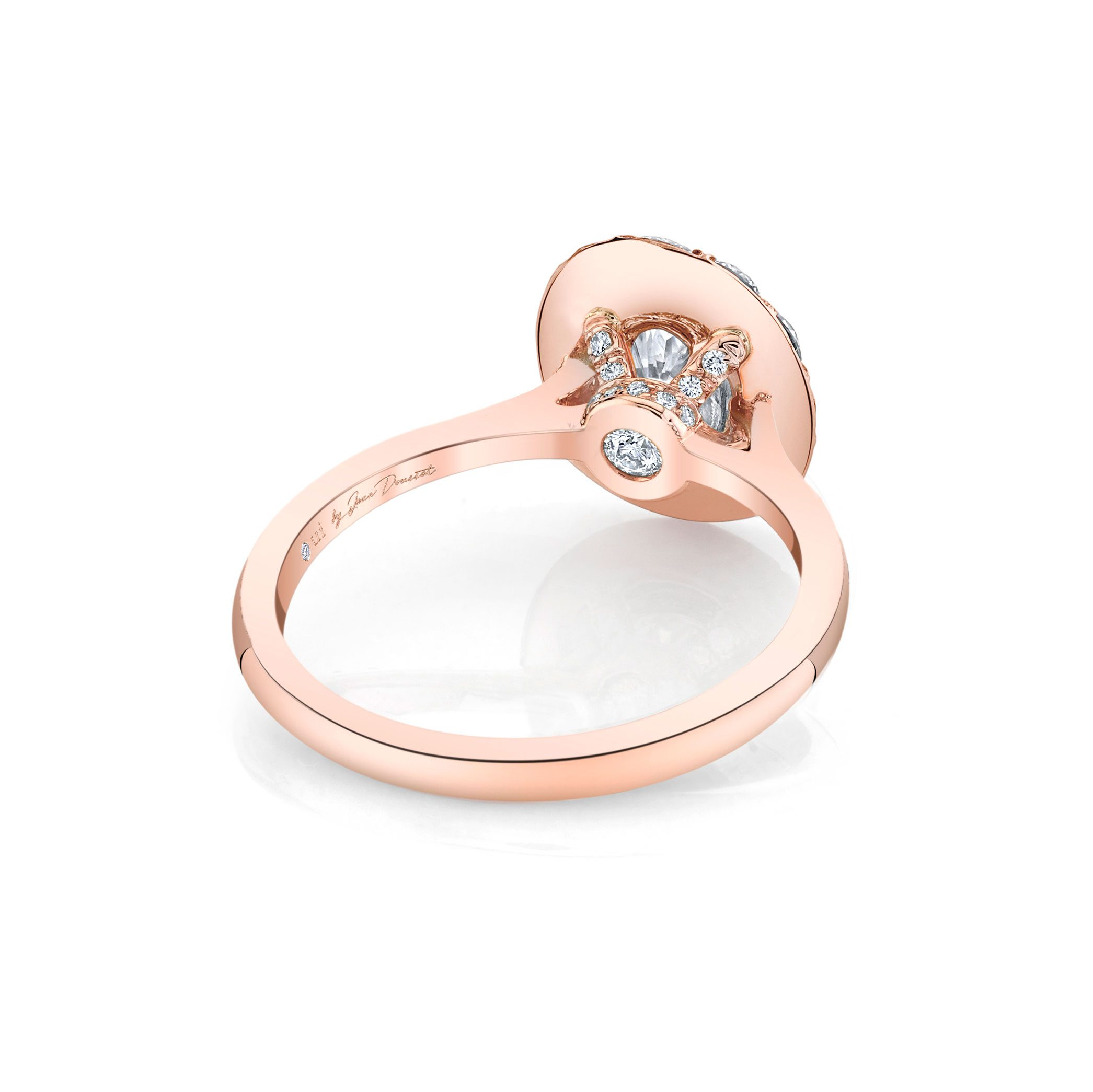 Colette Oval Seamless Solitaire® Engagement Ring with a solid band in 18k Rose Gold Back View by Oui by Jean Dousset