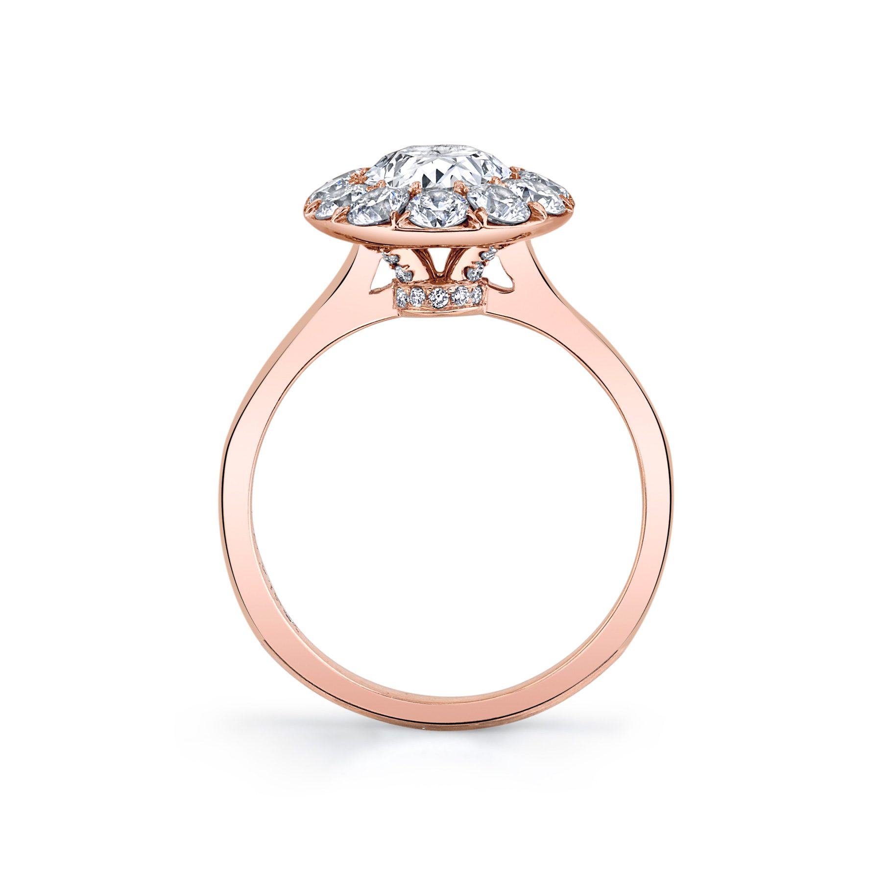 Colette Oval Seamless Solitaire® Engagement Ring with a solid band in 18k Rose Gold Standing View by Oui by Jean Dousset