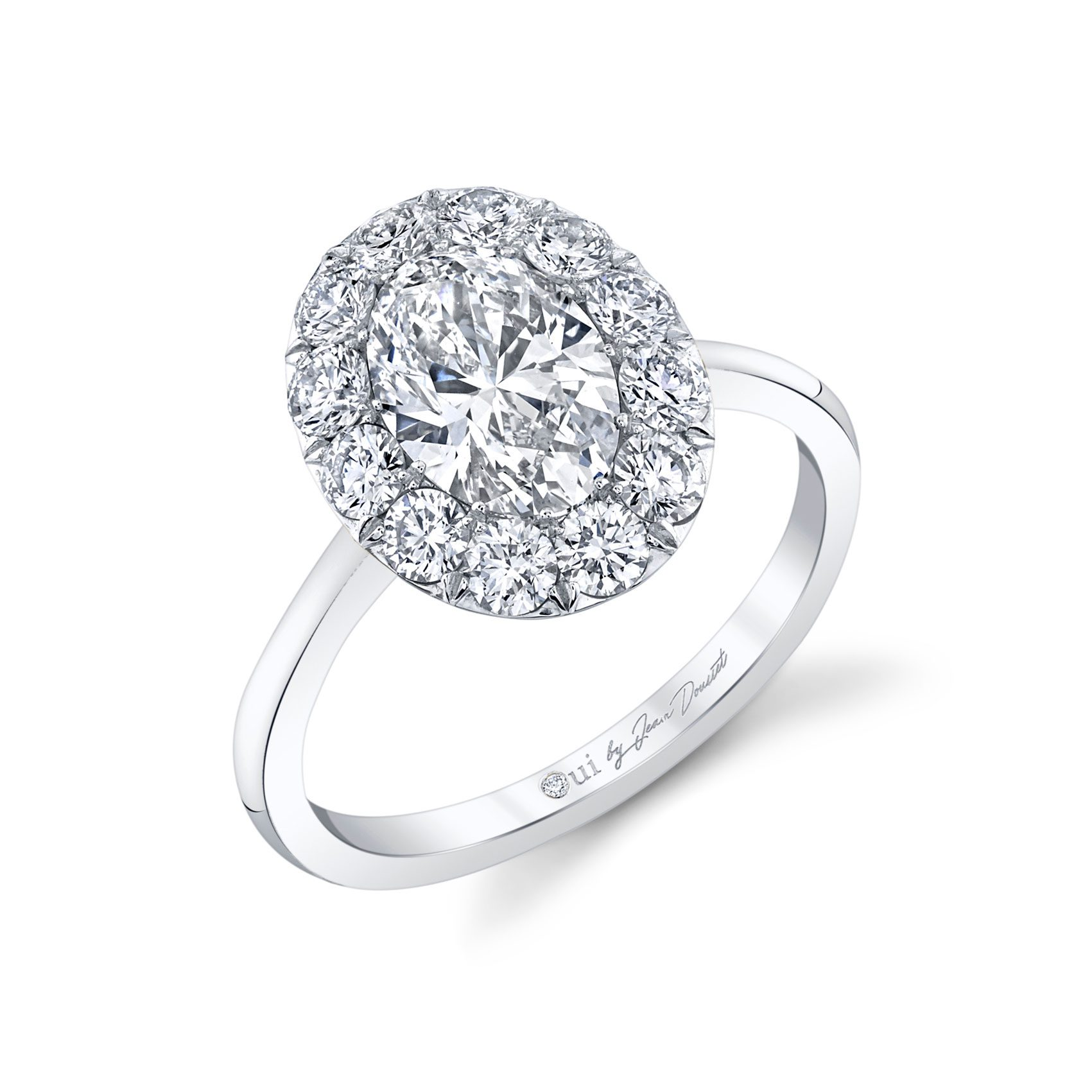 Colette Oval Seamless Solitaire® Engagement Ring with a solid band in 18k White Gold Profile View by Oui by Jean Dousset