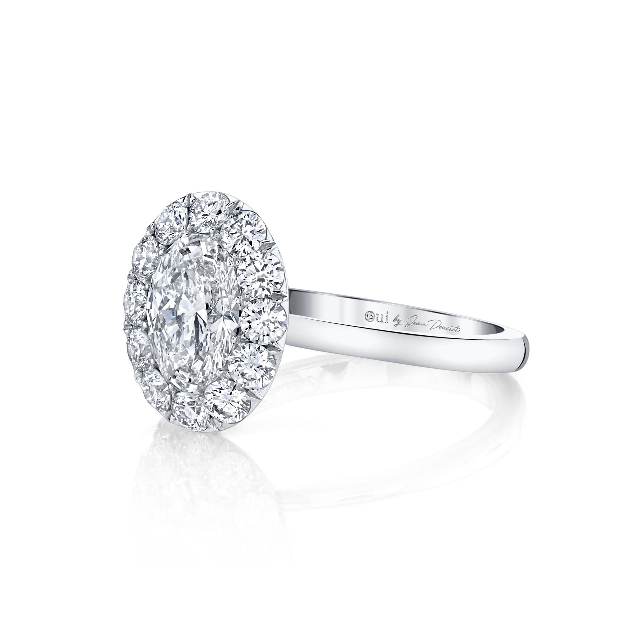 Colette Oval Seamless Solitaire® Engagement Ring with a solid band in 18k White Gold Side View by Oui by Jean Dousset