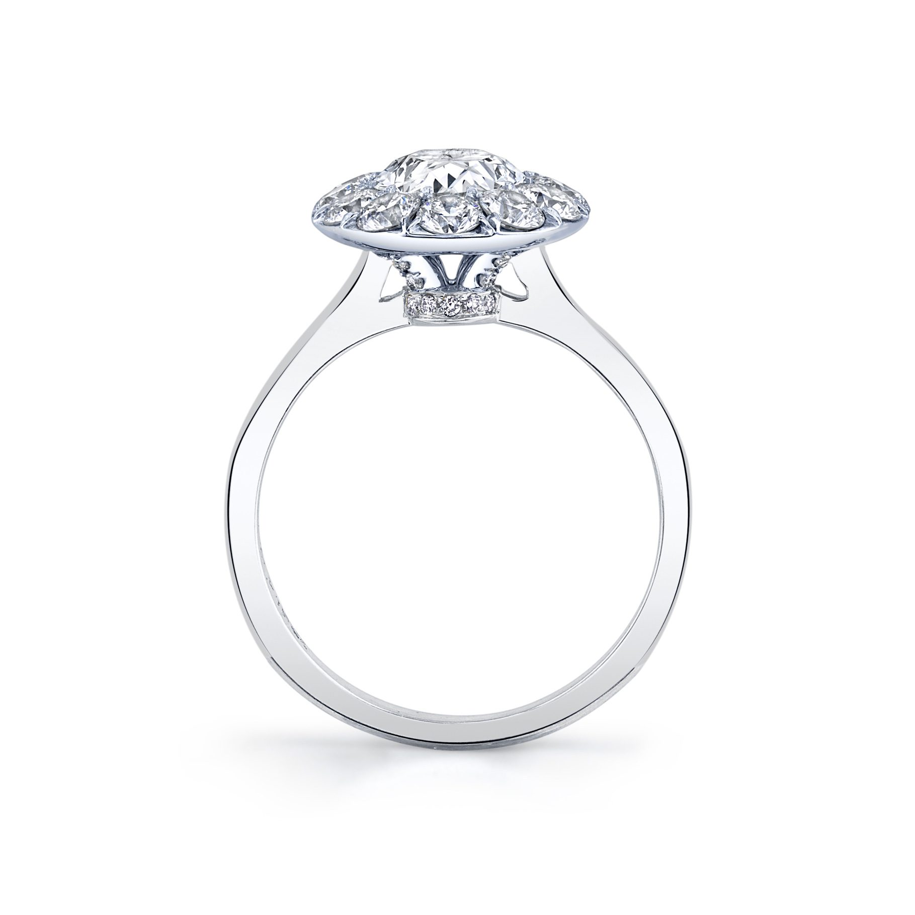 Colette Oval Seamless Solitaire® Engagement Ring with a solid band in 18k White Gold Standing View by Oui by Jean Dousset