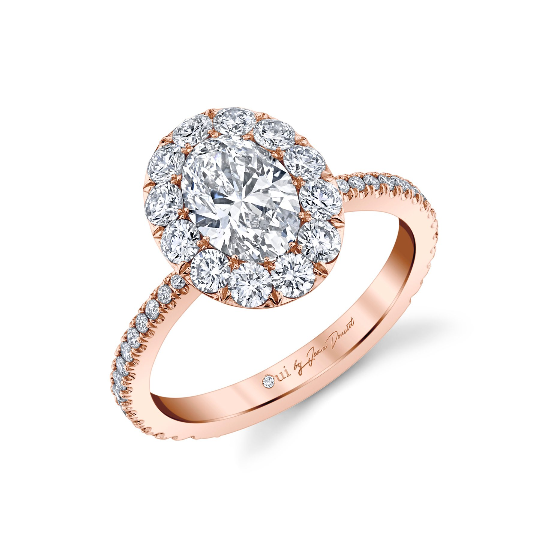 Eloise Oval Seamless Solitaire® Engagement Ring with diamond pavé in 18k Rose Gold Profile View by Oui by Jean Dousset