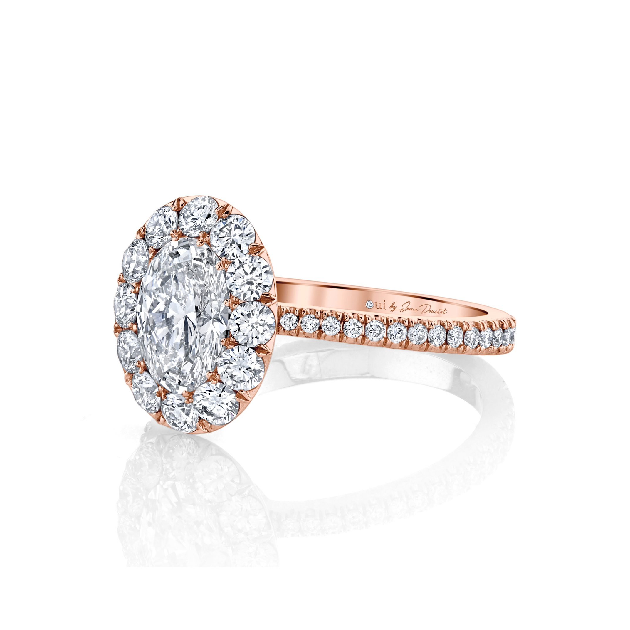 Eloise Oval Seamless Solitaire® Engagement Ring with diamond pavé in 18k Rose Gold Side View by Oui by Jean Dousset