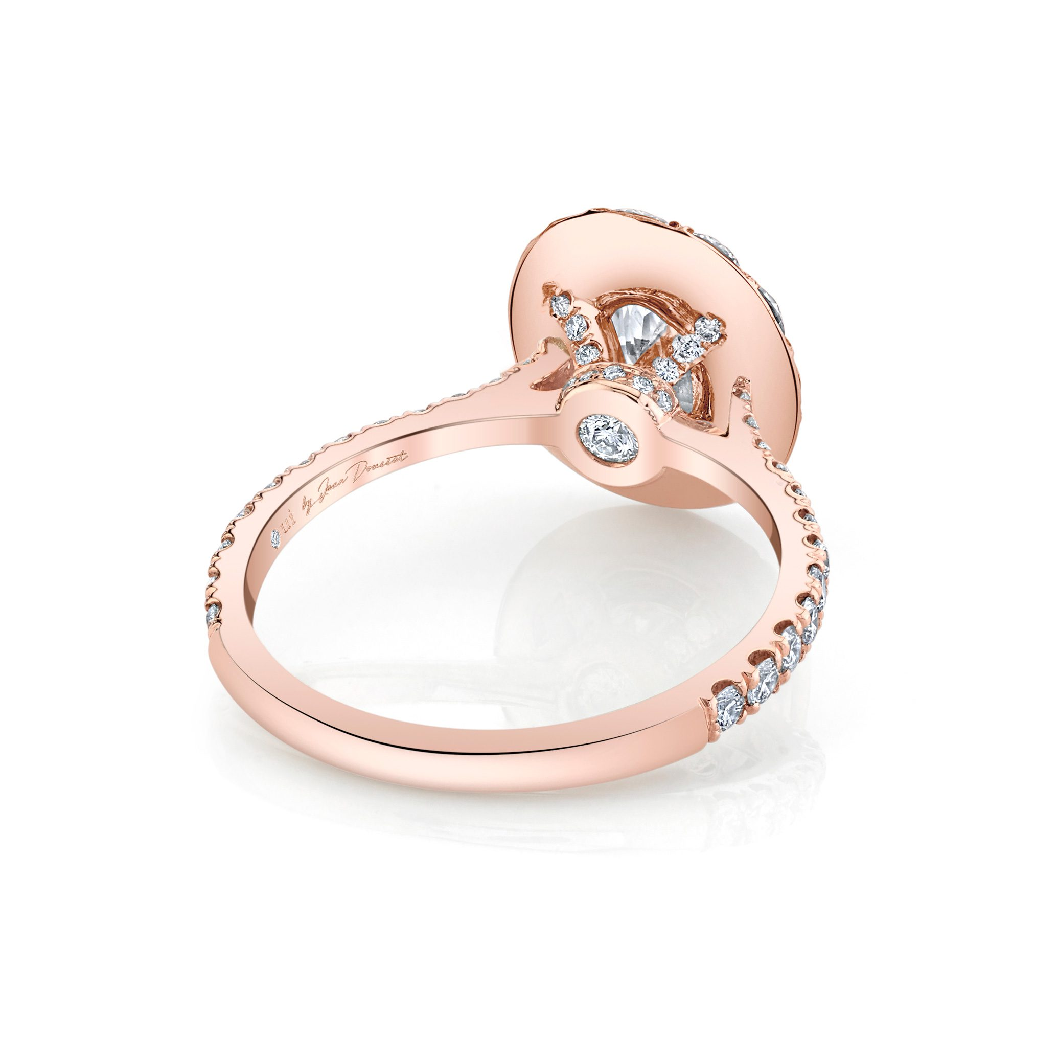 Eloise Oval Seamless Solitaire® Engagement Ring with diamond pavé in 18k Rose Gold Back View by Oui by Jean Dousset