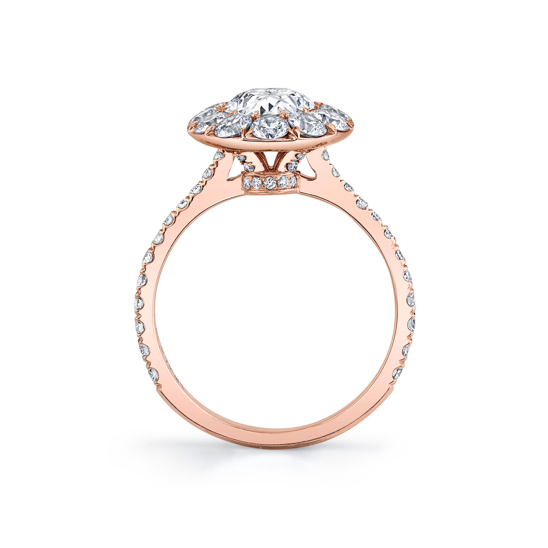 Eloise Oval Seamless Solitaire® Engagement Ring with diamond pavé in 18k Rose Gold Standing View by Oui by Jean Dousset