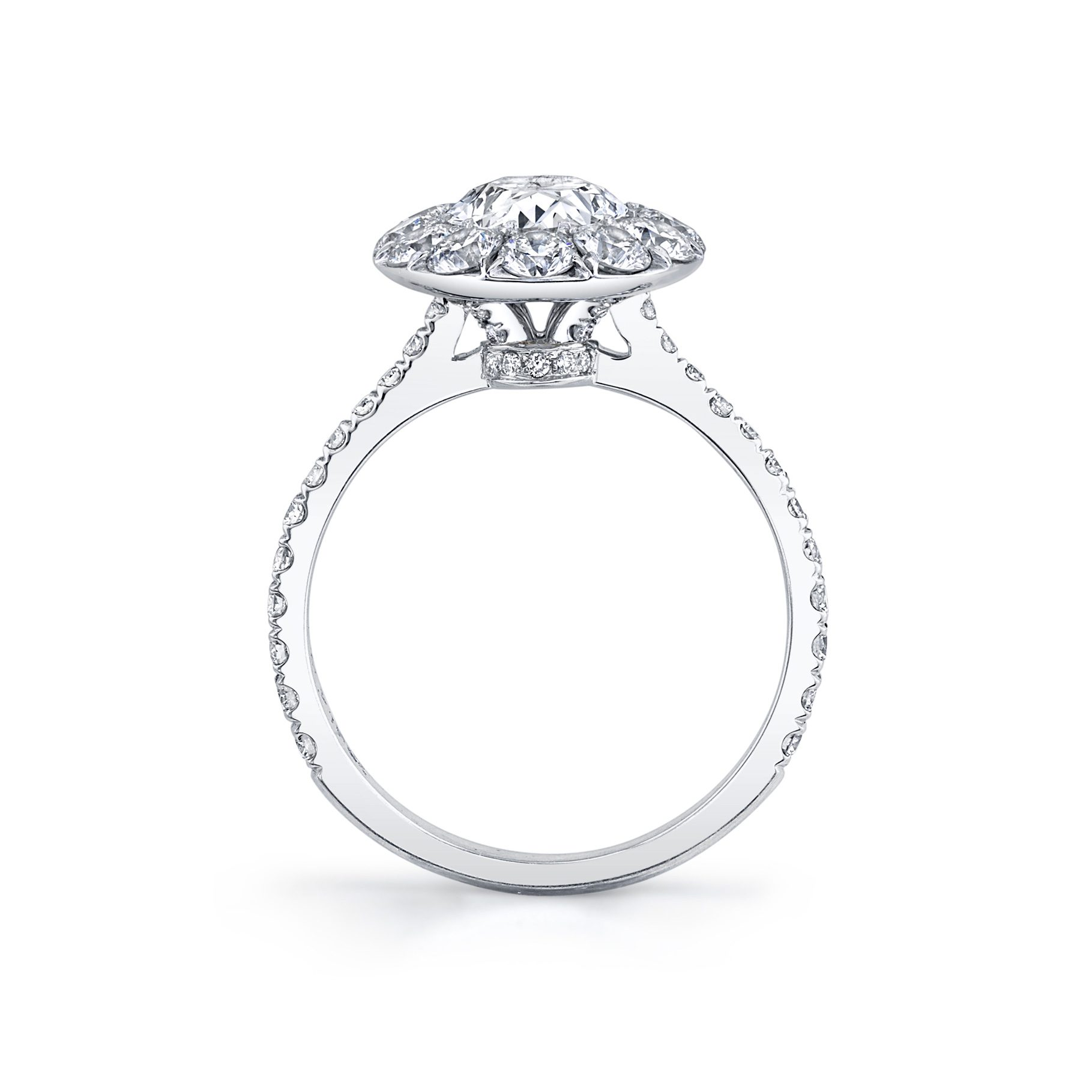 Eloise Oval Seamless Solitaire® Engagement Ring with diamond pavé in 18k White Gold Standing View by Oui by Jean Dousset