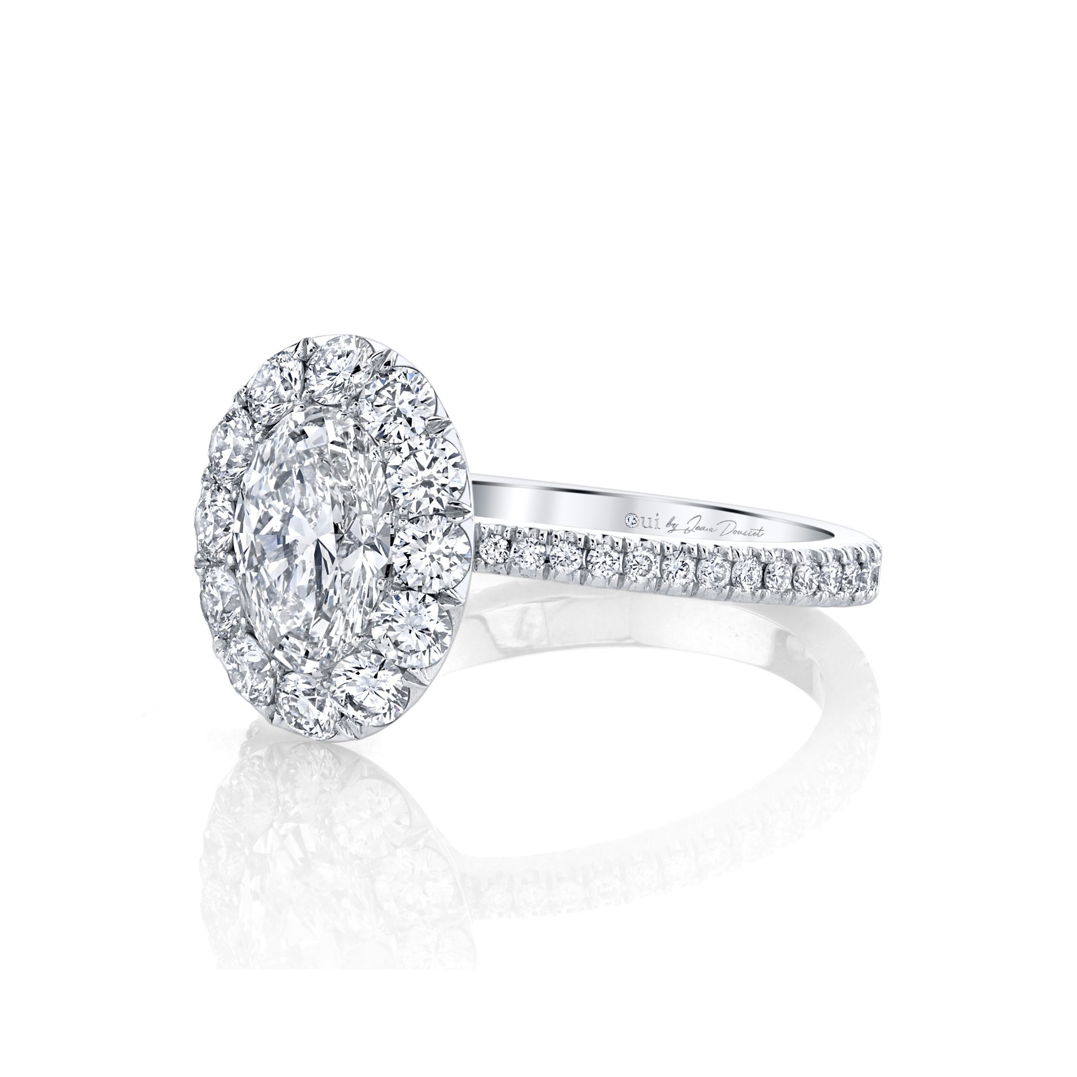 Eloise Oval Seamless Solitaire® Engagement Ring with diamond pavé in 18k White Gold Side View by Oui by Jean Dousset