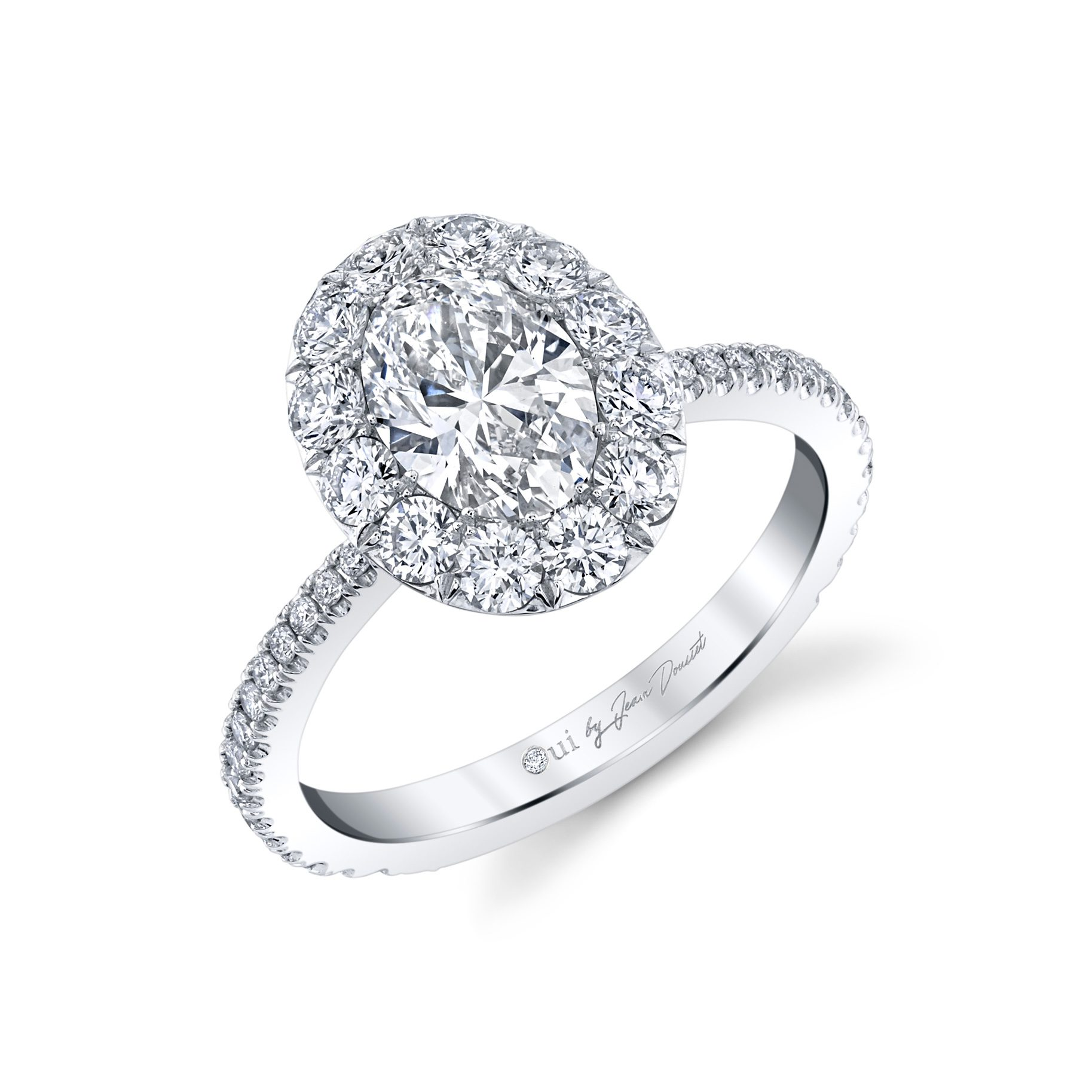 Eloise Floating Oval Seamless Solitaire® Engagement Ring with diamond pavé in 18k White Gold Profile View by Oui by Jean Dousset