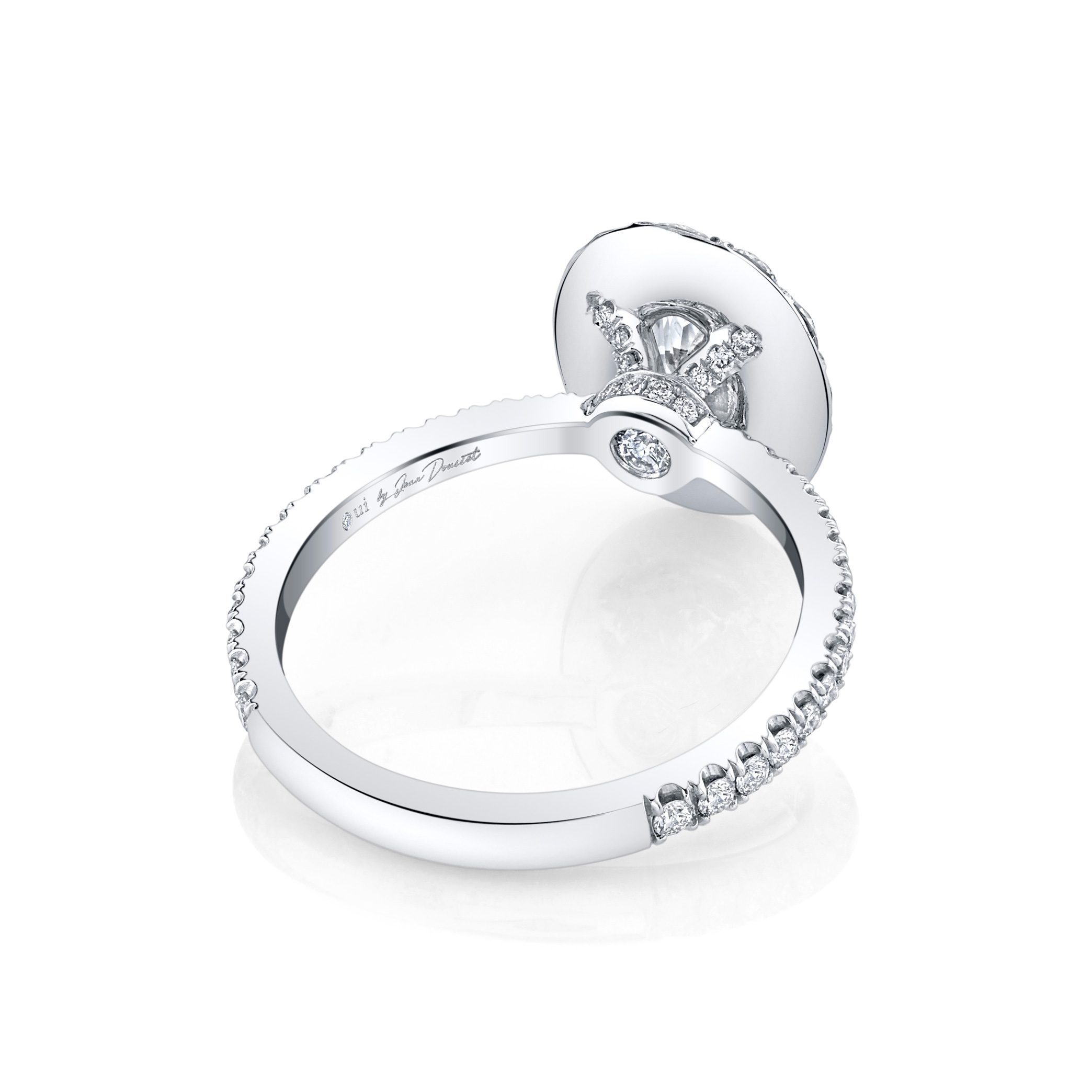 Eloise Floating Oval Seamless Solitaire® Engagement Ring with diamond pavé in 18k White Gold Back View by Oui by Jean Dousset