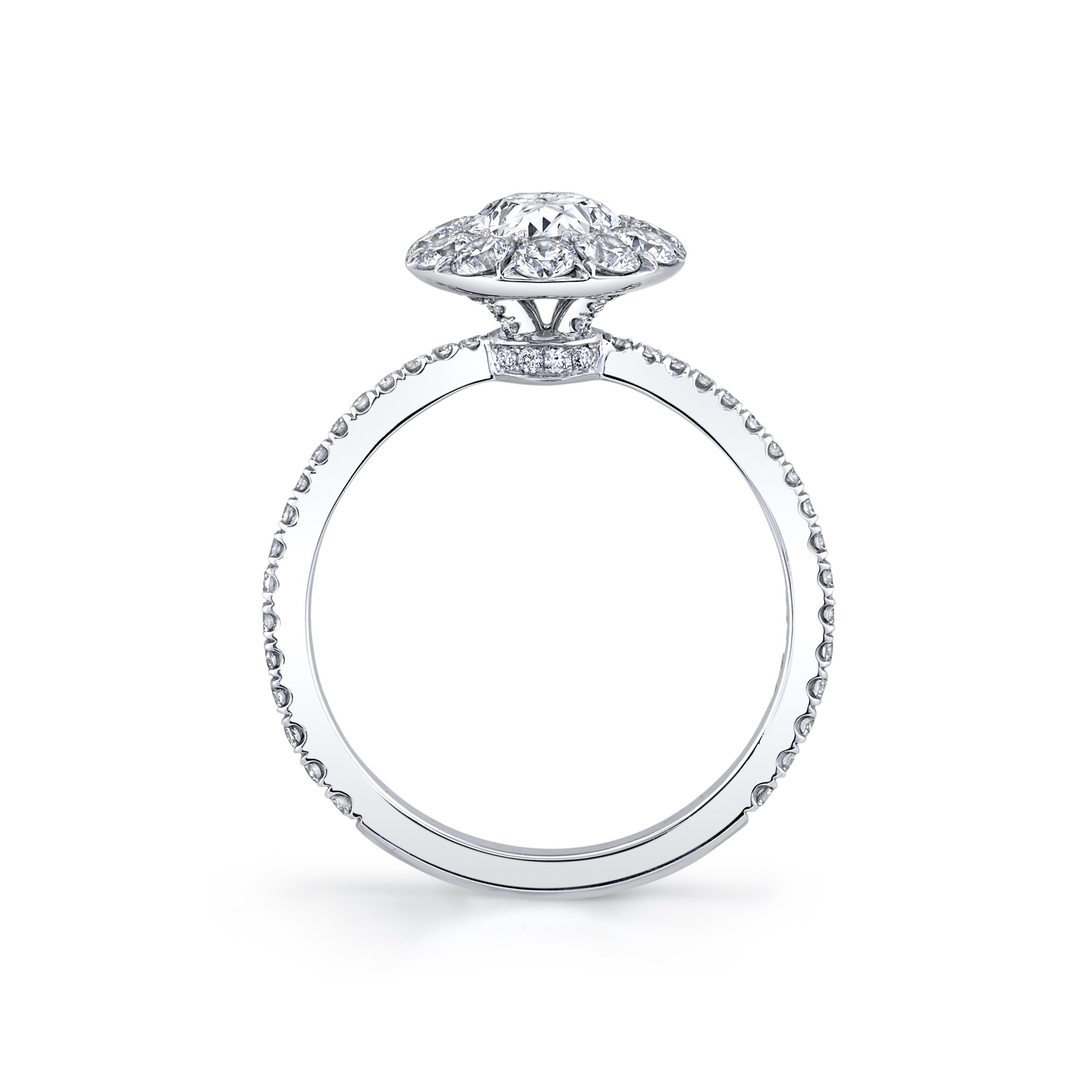 Eloise Floating Oval Seamless Solitaire® Engagement Ring with diamond pavé in 18k White Gold Standing View by Oui by Jean Dousset