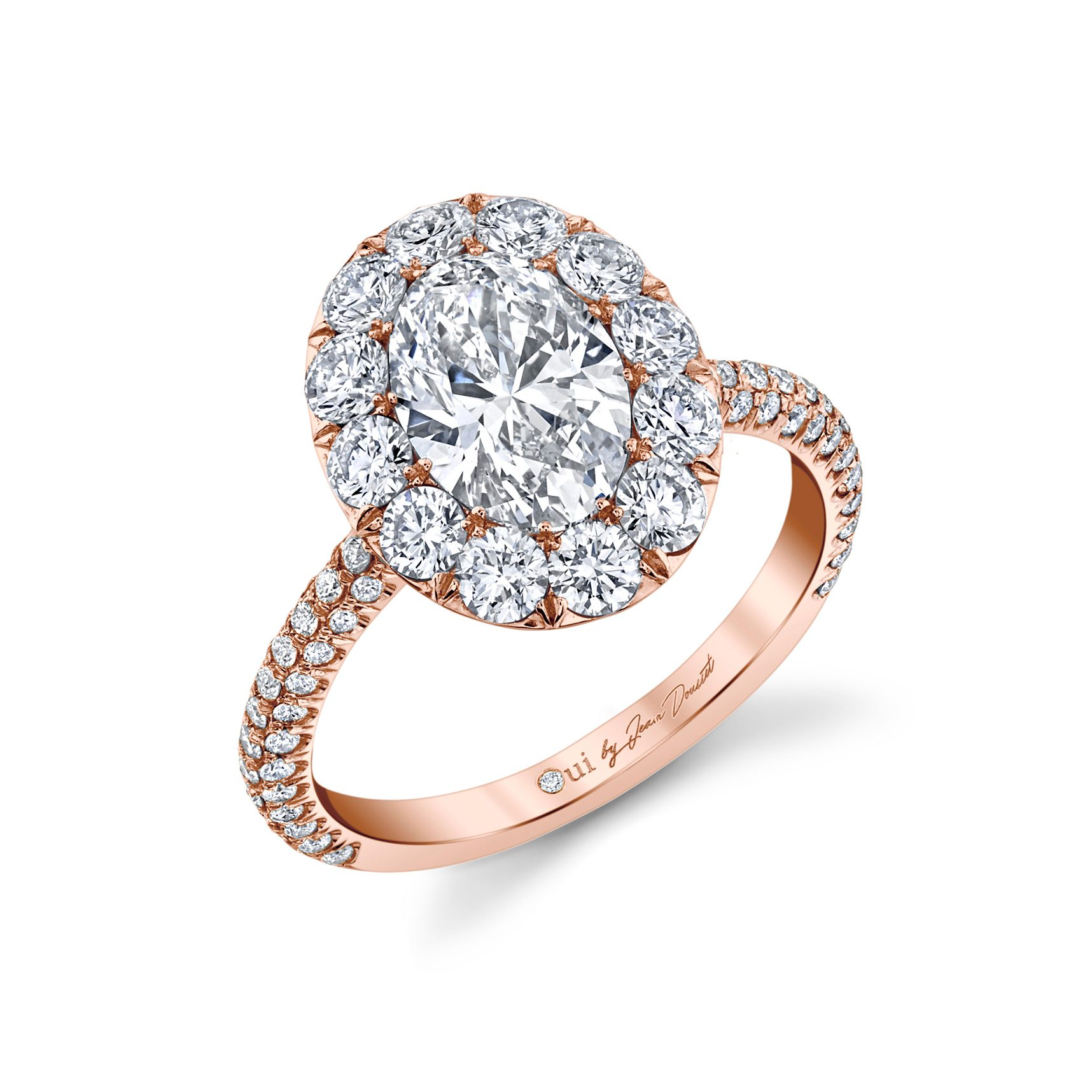 Jacqueline Floating Oval Seamless Solitaire® Engagement Ring with diamond pavé in 18k Rose Gold Profile View by Oui by Jean Dousset
