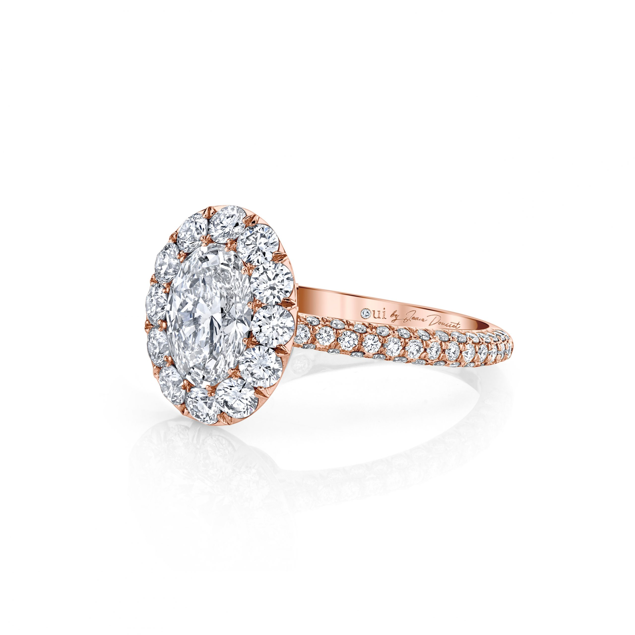 Jacqueline Floating Oval Seamless Solitaire® Engagement Ring with diamond pavé in 18k Rose Gold Side View by Oui by Jean Dousset