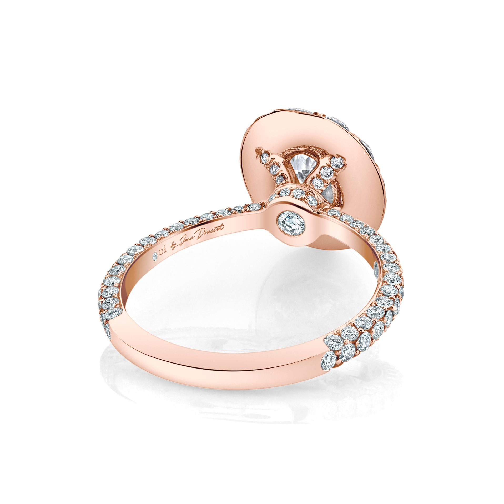 Jacqueline Floating Oval Seamless Solitaire® Engagement Ring with diamond pavé in 18k Rose Gold Back View by Oui by Jean Dousset