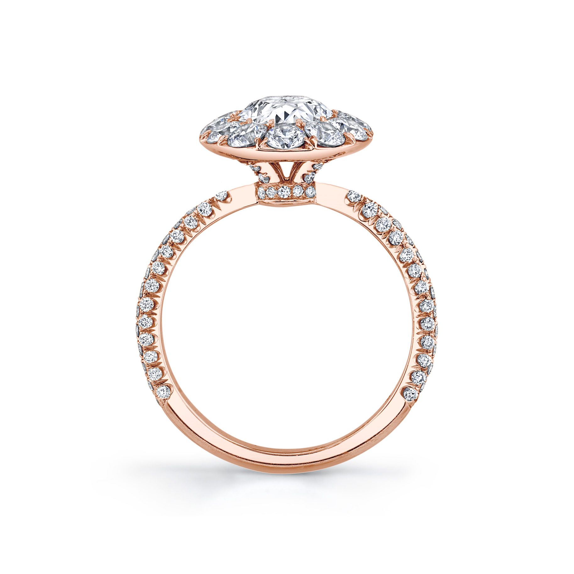 Jacqueline Floating Oval Seamless Solitaire® Engagement Ring with diamond pavé in 18k Rose Gold Standing View by Oui by Jean Dousset