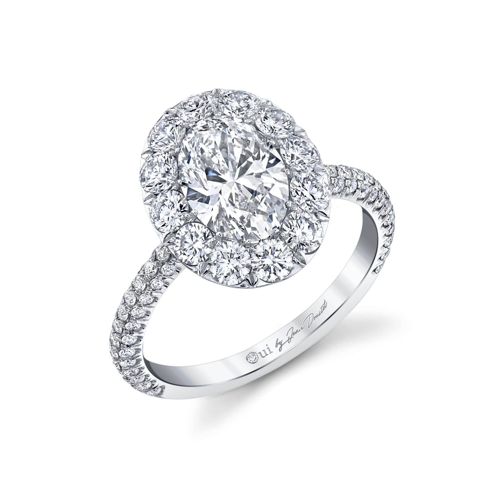 Jacqueline Floating Oval Seamless Solitaire® Engagement Ring with diamond pavé in 18k White Gold Profile View by Oui by Jean Dousset