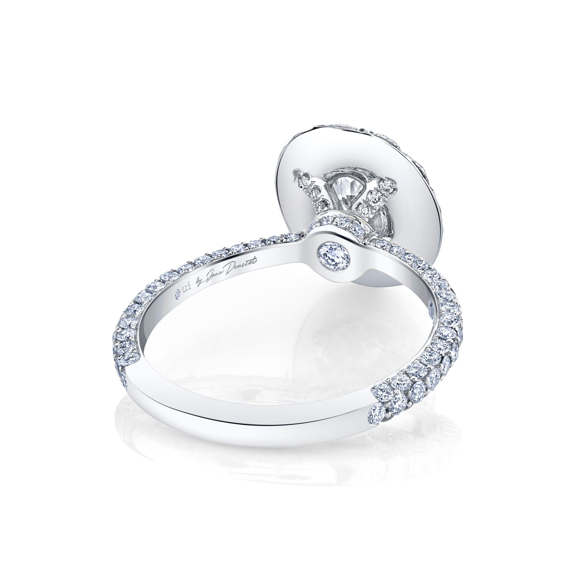 Jacqueline Floating Oval Seamless Solitaire® Engagement Ring with diamond pavé in 18k White Gold Back View by Oui by Jean Dousset