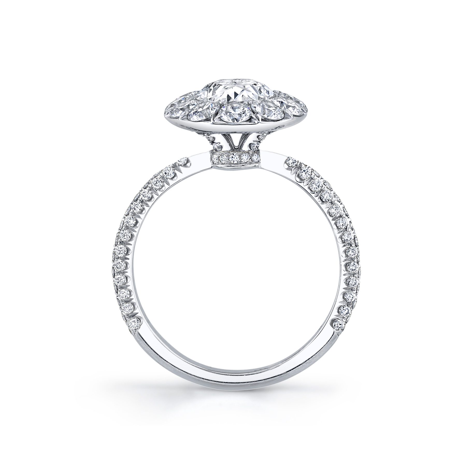 Jacqueline Floating Oval Seamless Solitaire® Engagement Ring with diamond pavé in 18k White Gold Standing View by Oui by Jean Dousset
