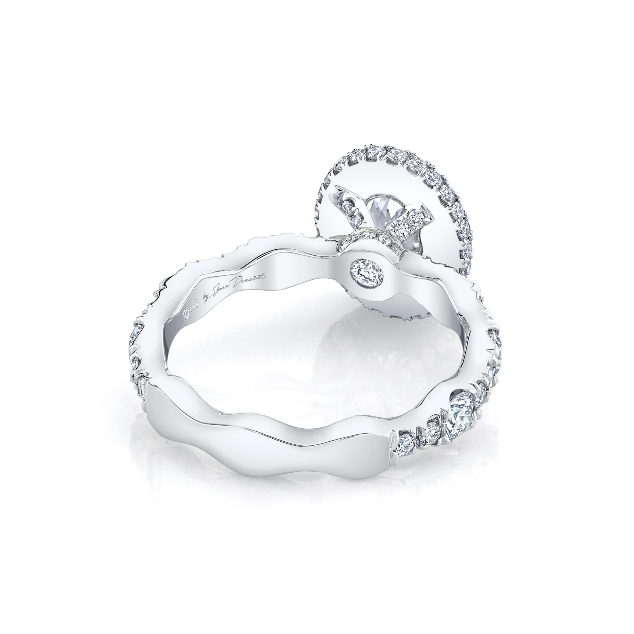 Yvonne Oval Seamless Halo® Engagement Ring with a diamond pavé wave in 18k White Gold Back View by Oui by Jean Dousset