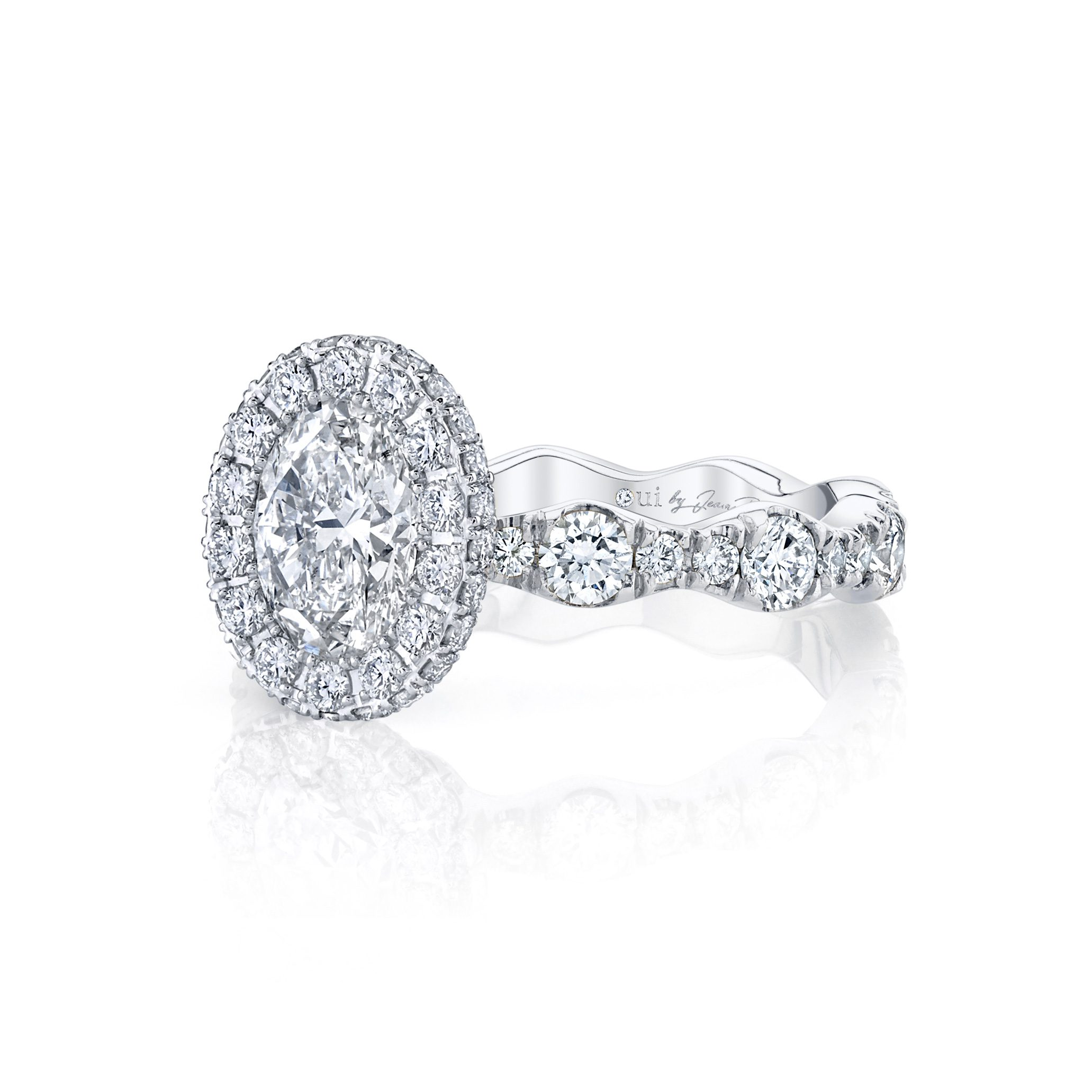 Yvonne Oval Seamless Halo® Engagement Ring with a diamond pavé wave in 18k White Gold Side View by Oui by Jean Dousset