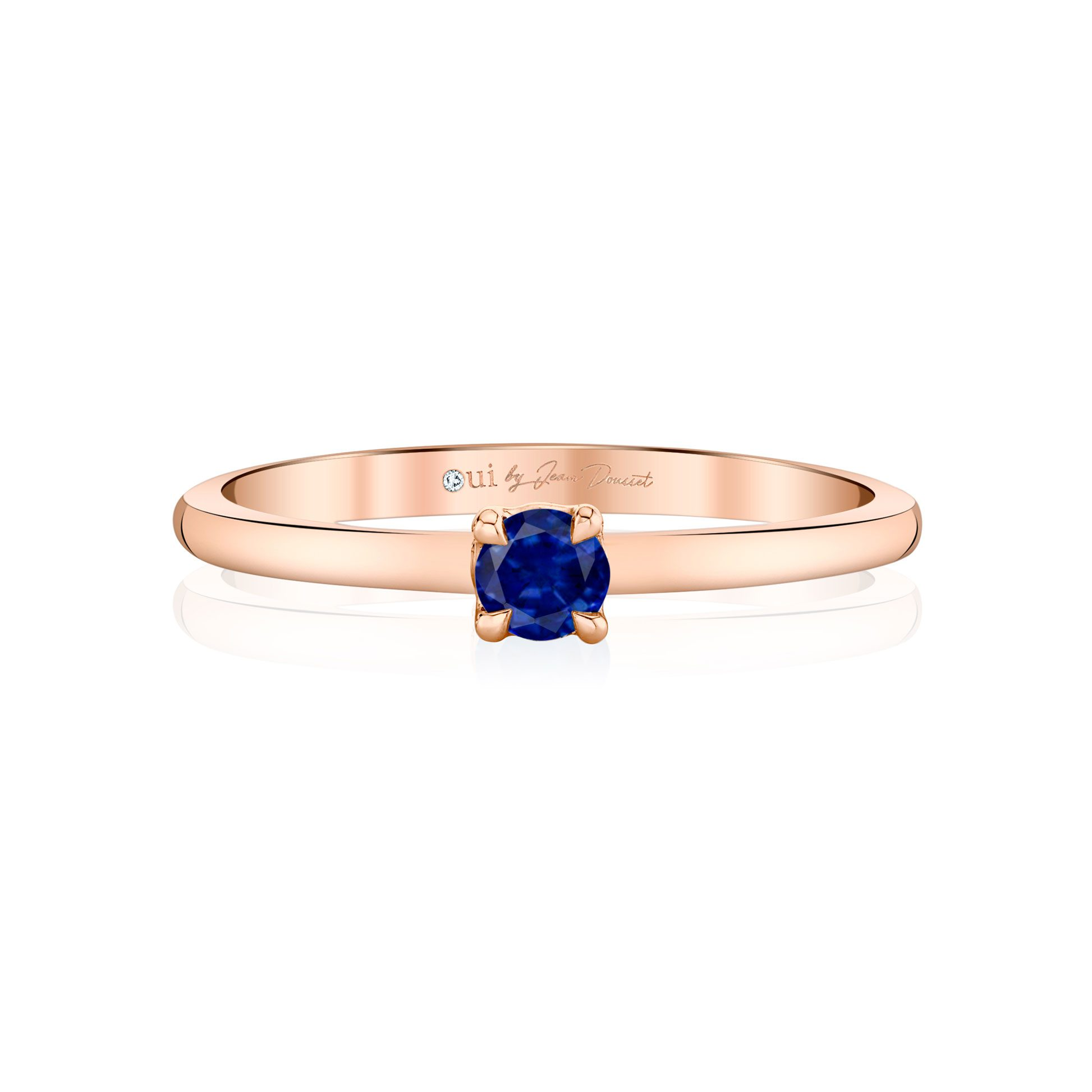 La Petite Round Brilliant Blue Sapphire Ring in 18k Rose Gold Front View by Oui by Jean Dousset