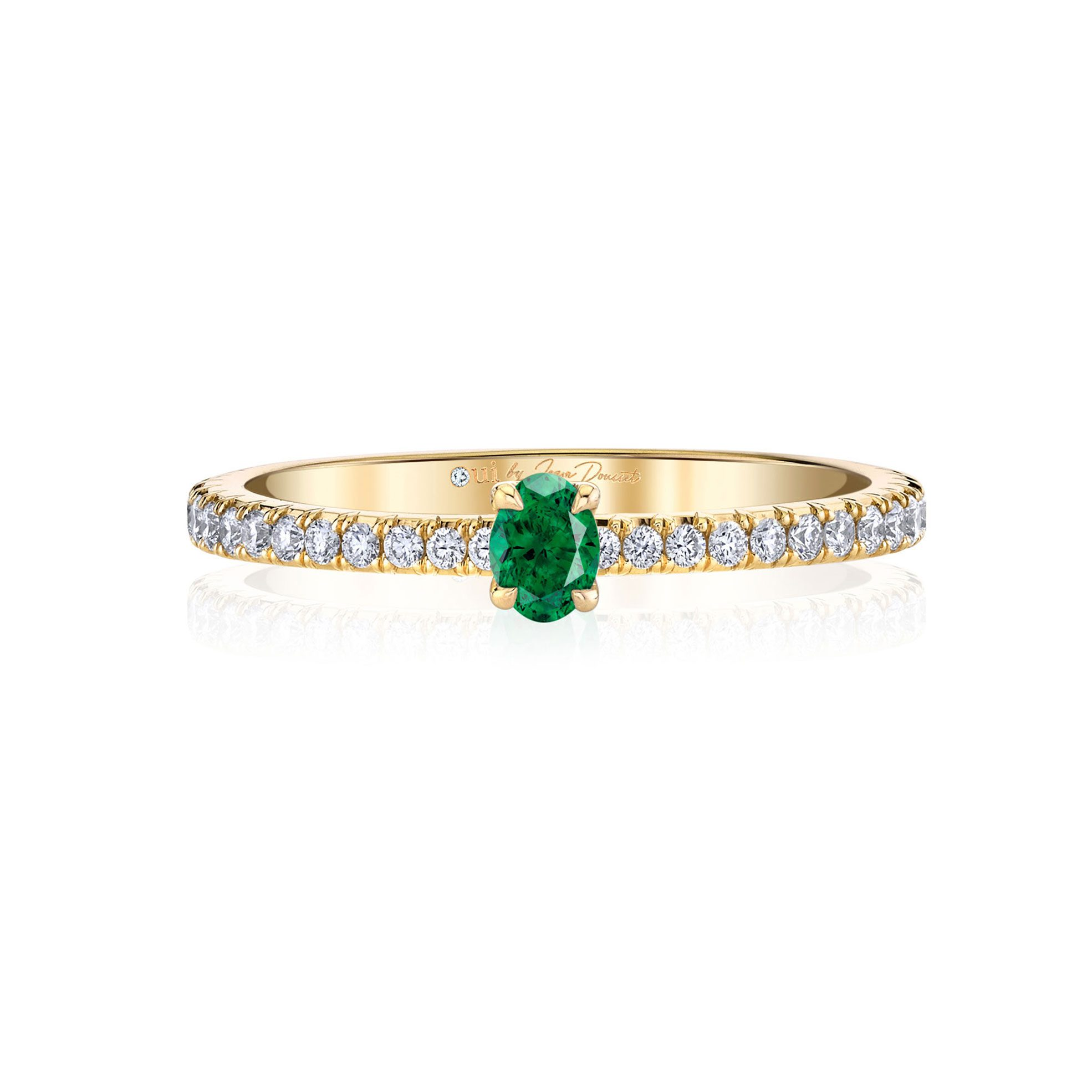 La Petite Oval Emerald Ring diamond pavé band in 18k Yellow Gold Front View by Oui by Jean Dousset