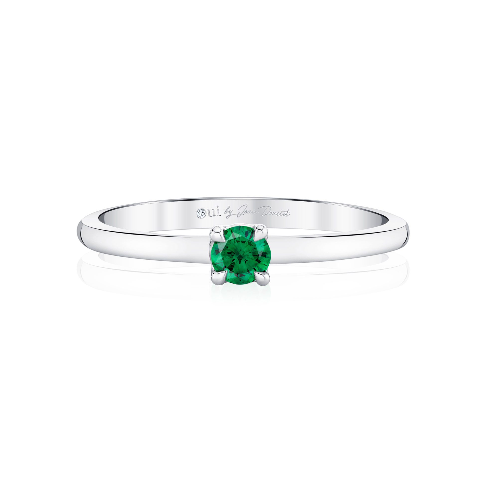 La Petite Round Brilliant Emerald Ring in 18k White Gold Front View by Oui by Jean Dousset
