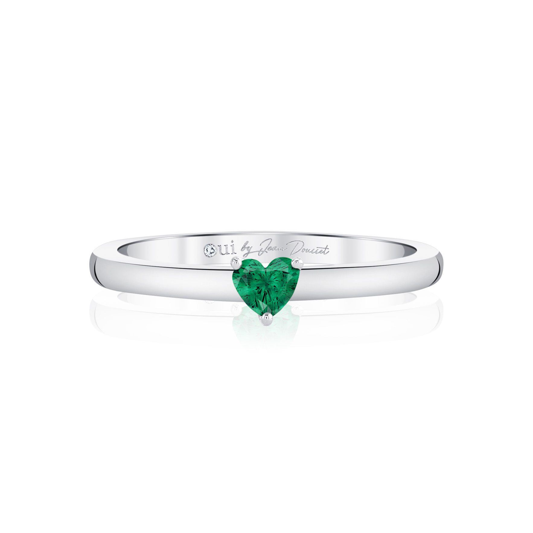 La Petite Heart Emerald Ring in 18k White Gold Front View by Oui by Jean Dousset