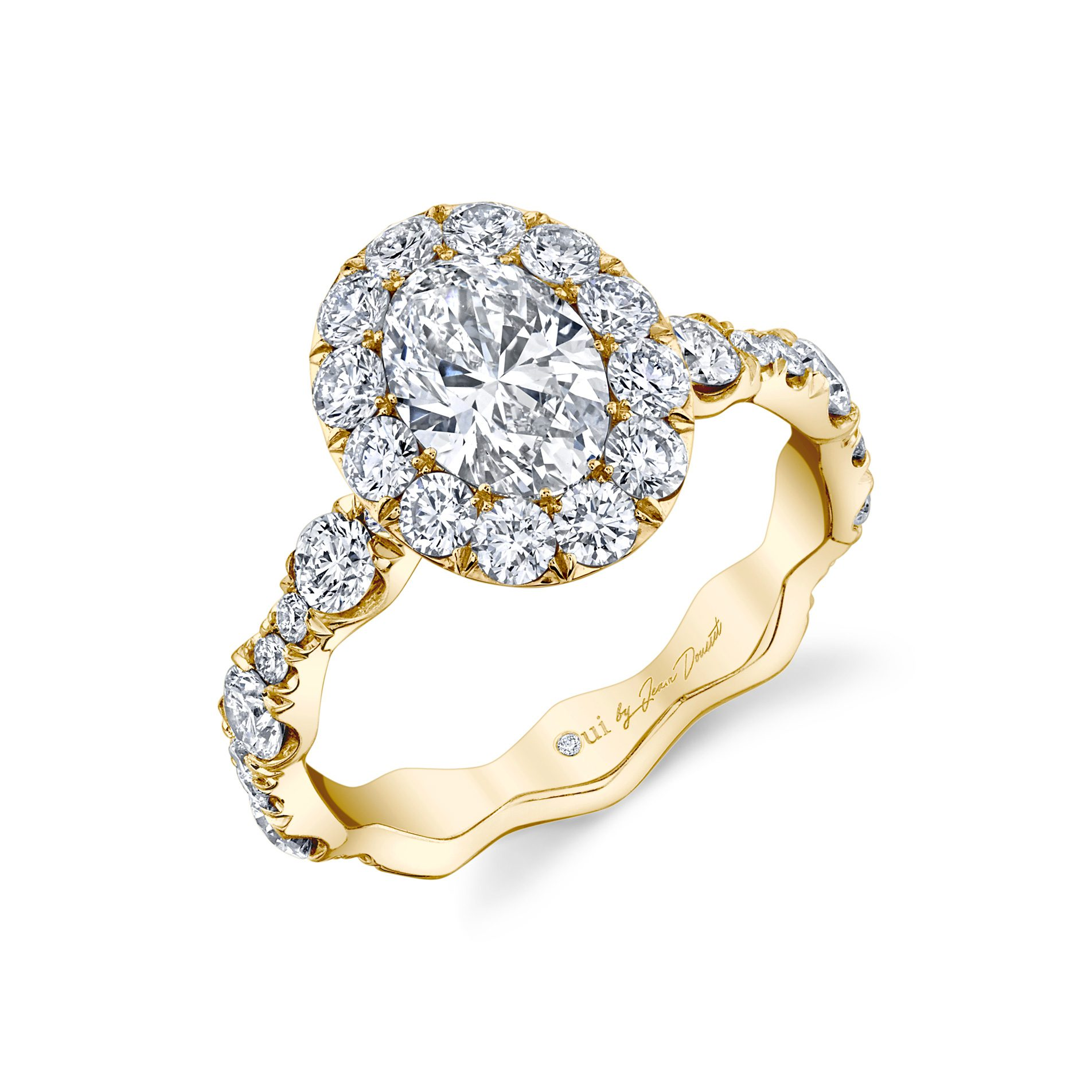 Yvonne Floating Oval Seamless Solitaire® Engagement Ring with a diamond pavé wave in 18k Yellow Gold Profile View by Oui by Jean Dousset