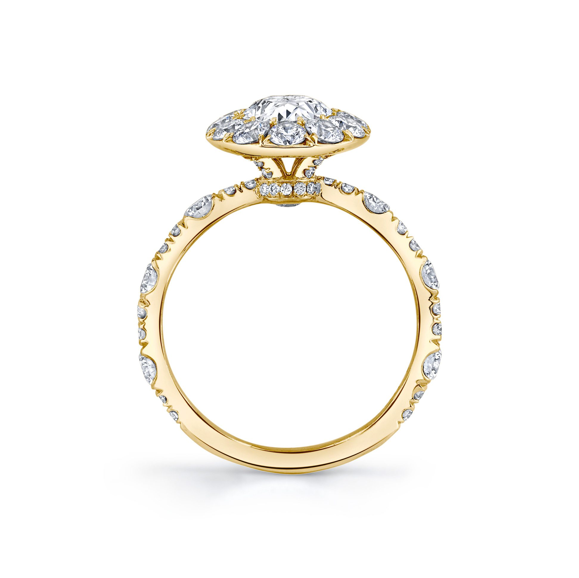 Yvonne Floating Oval Seamless Solitaire® Engagement Ring with a diamond pavé wave in 18k Yellow Gold Standing View by Oui by Jean Dousset