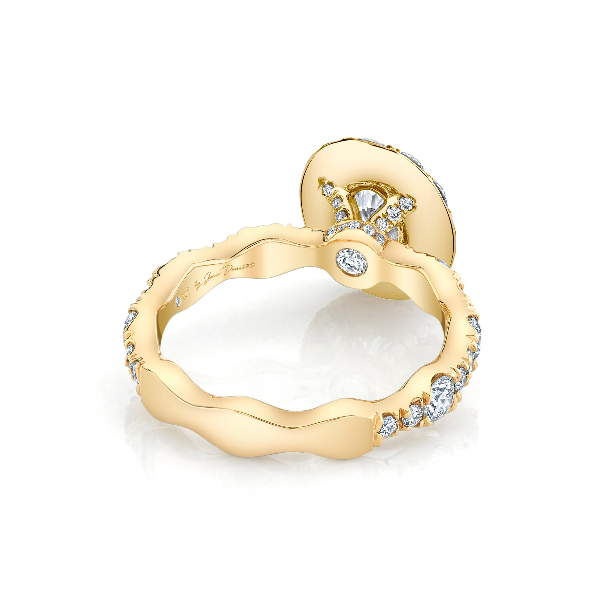Yvonne Floating Oval Seamless Solitaire® Engagement Ring with a diamond pavé wave in 18k Yellow Gold Back View by Oui by Jean Dousset